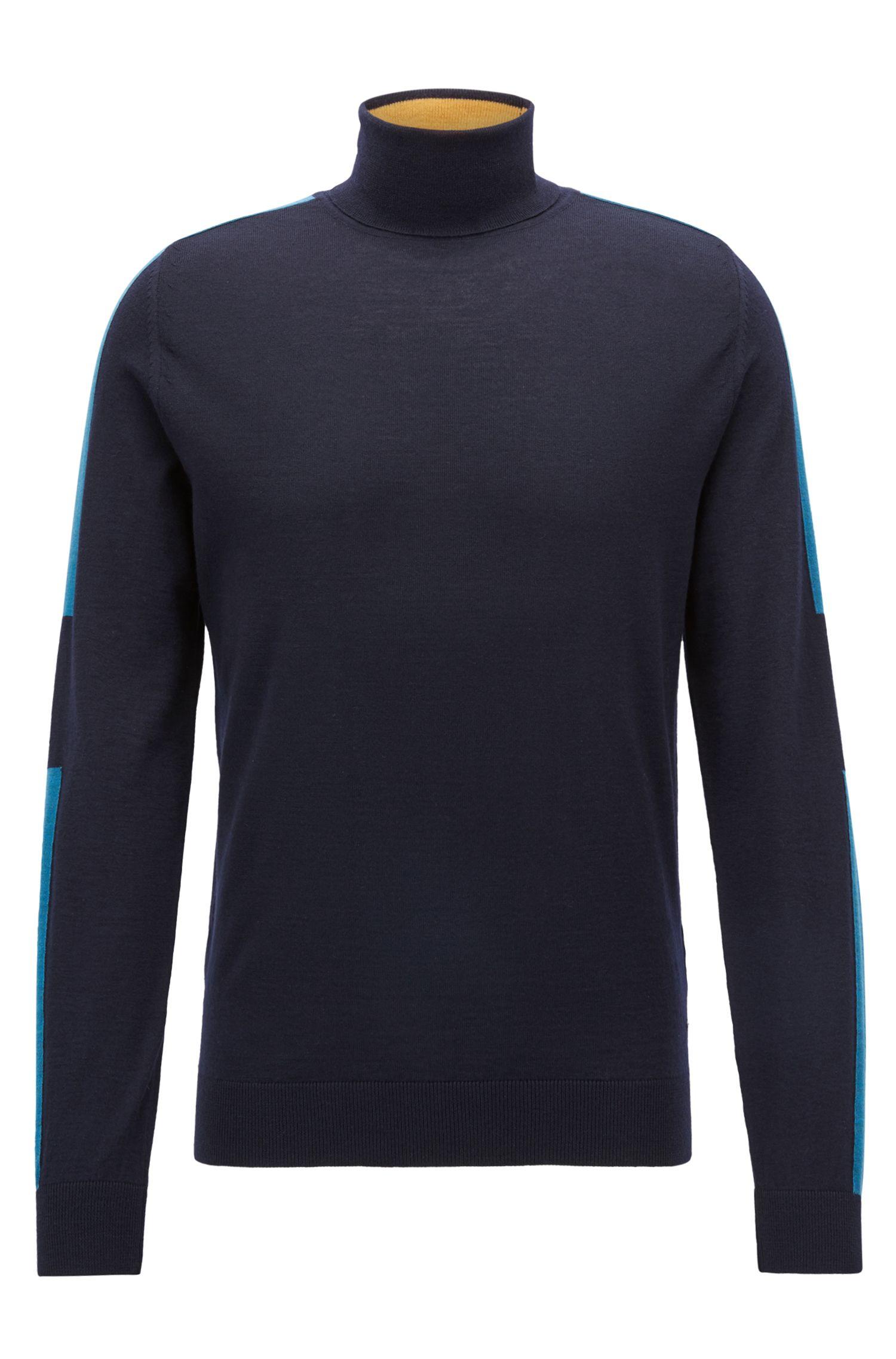 Turtleneck sweater in Italian merino wool with color-blocking, Open Blue