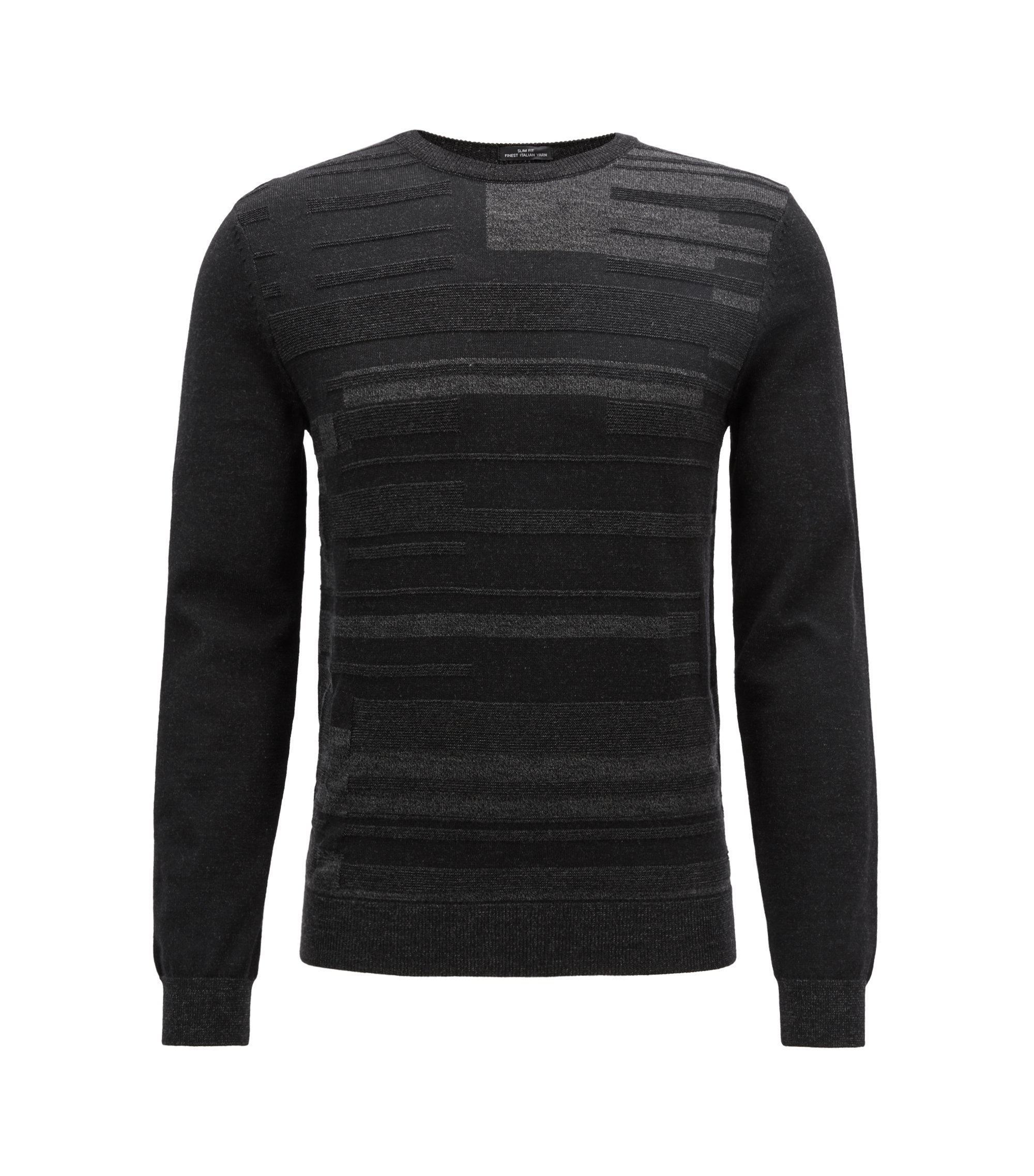 Slim-fit knitted sweater with Bauhaus-inspired melange graphic, Black