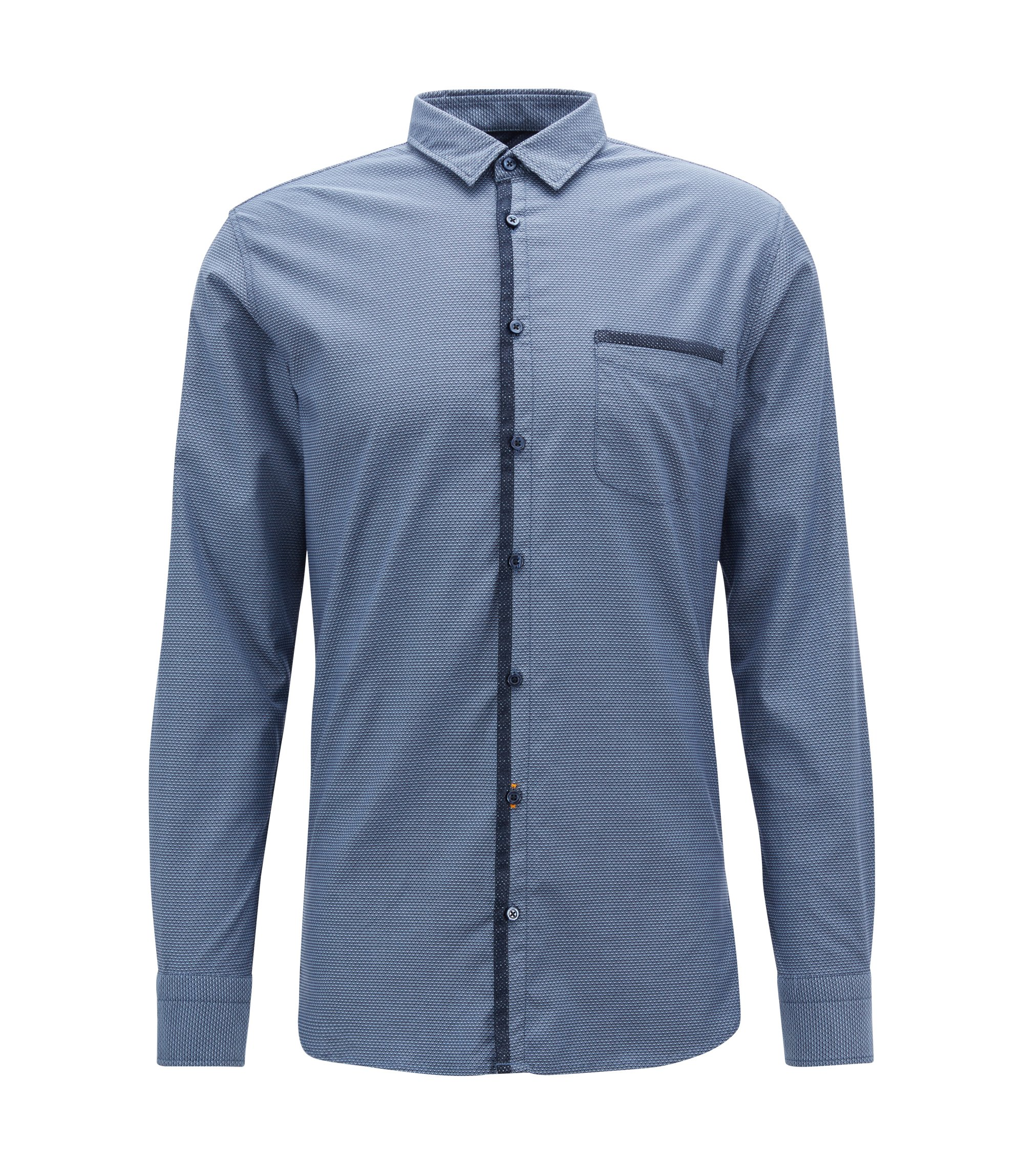 Slim-fit shirt in micro-patterned cotton with mesh contrasts, Dark Blue