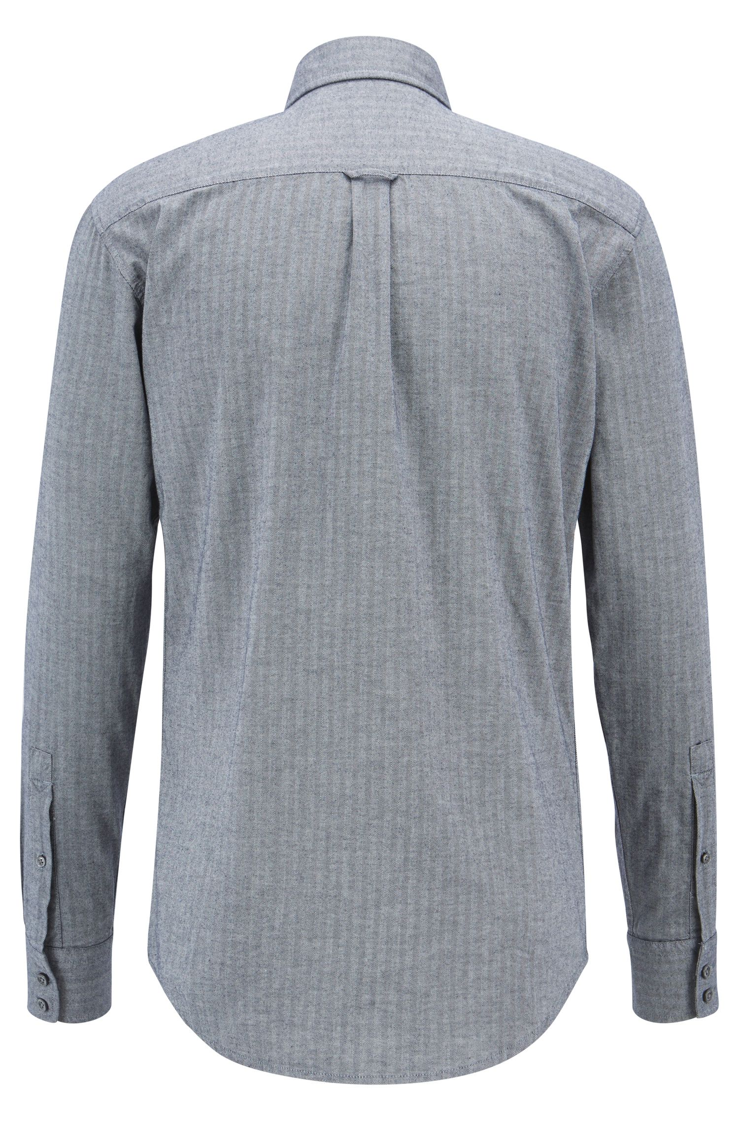Slim-fit shirt in washed cotton with herringbone structure, Dark Blue