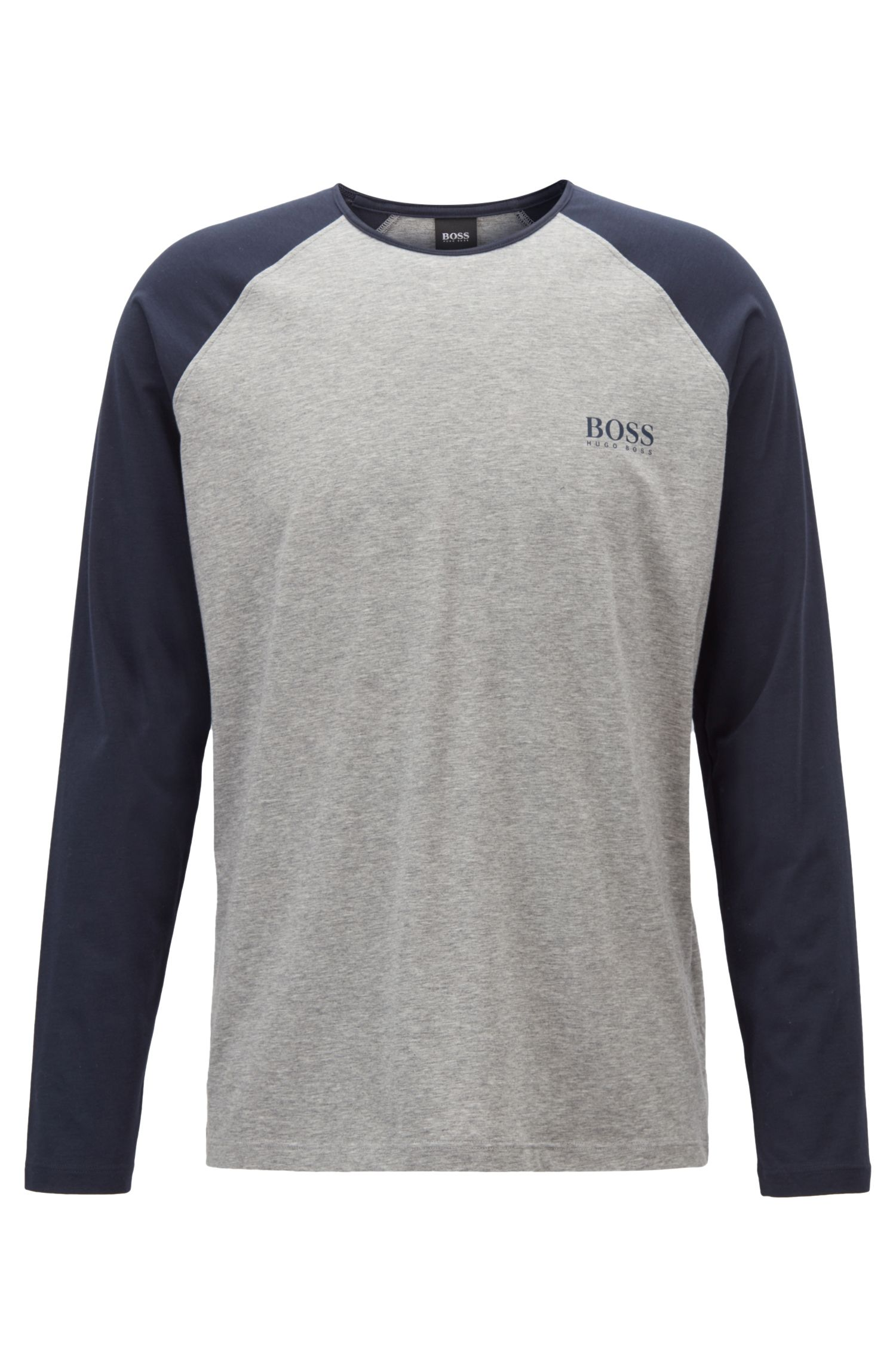 Crew-neck pajama top with contrast raglan sleeves, Grey