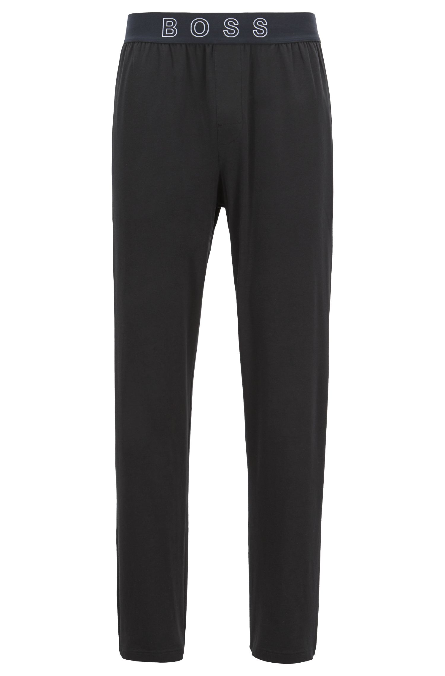 Pajama pants in stretch cotton with logo waistband, Black