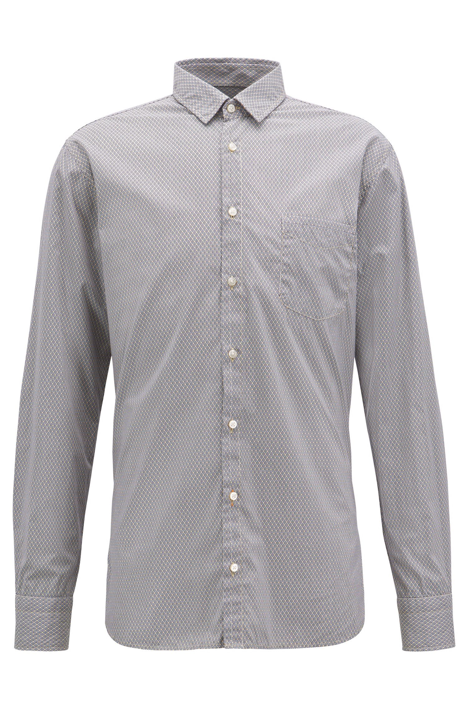 Slim-fit shirt in cotton with mini-geometric print, Open Yellow