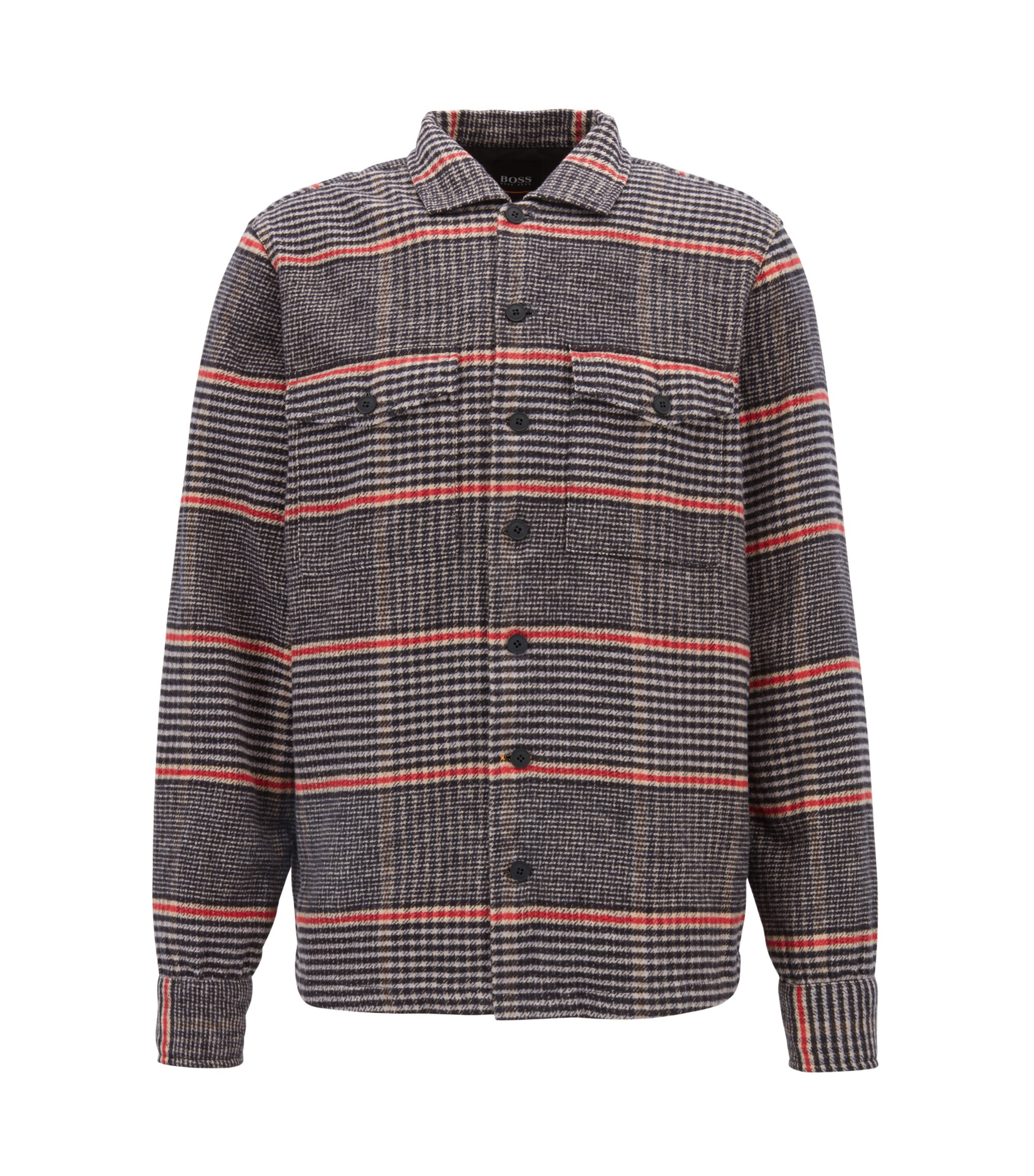 Oversized-fit shirt in Glen-check cotton twill, Open Beige