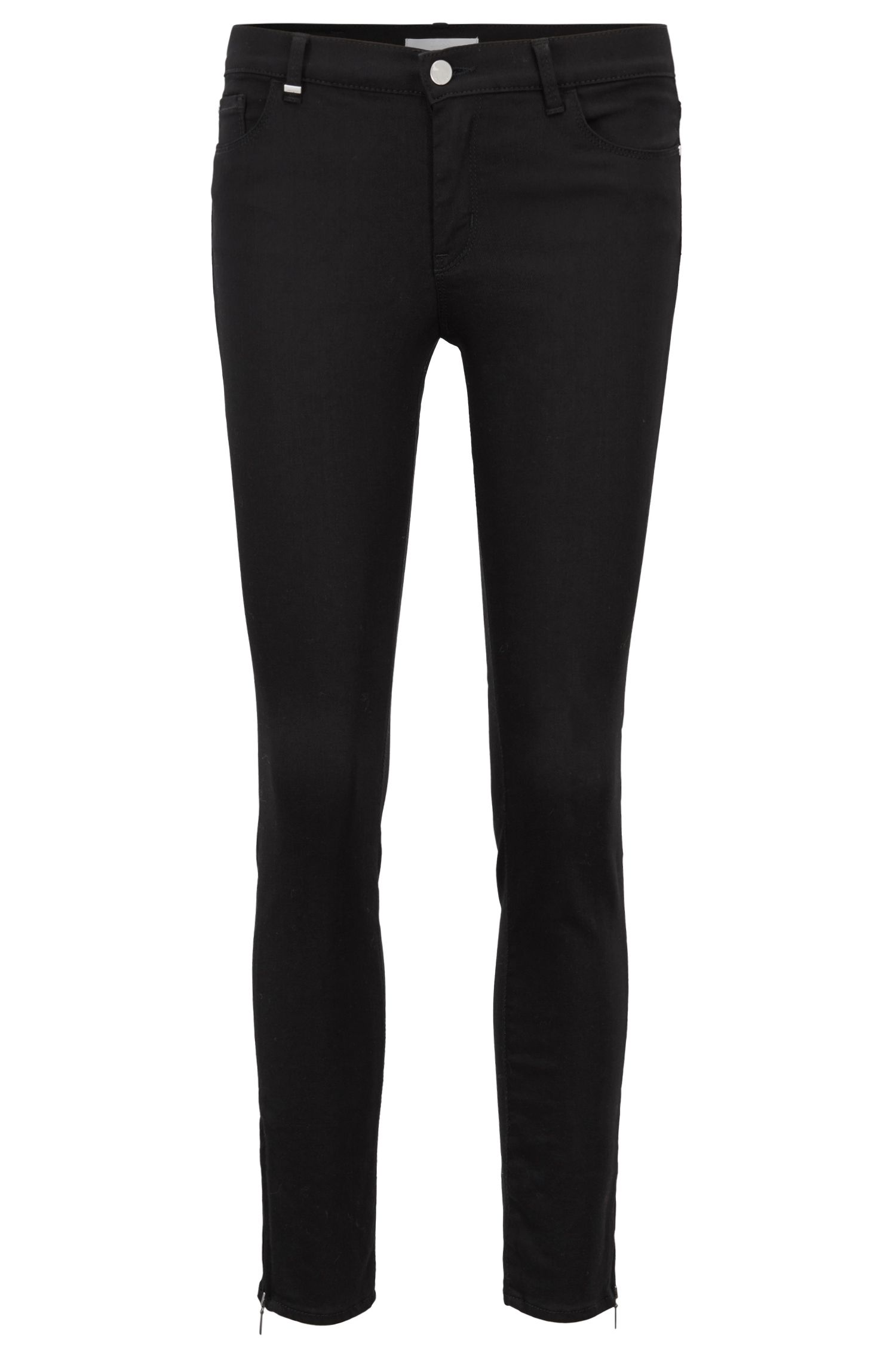 Slim-fit cropped jeans in Stay Black stretch denim, Black