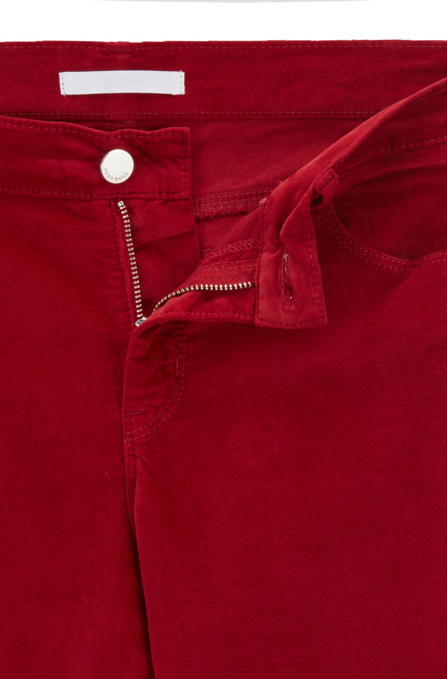 Slim-fit jeans in Italian stretch velvet, Dark Red