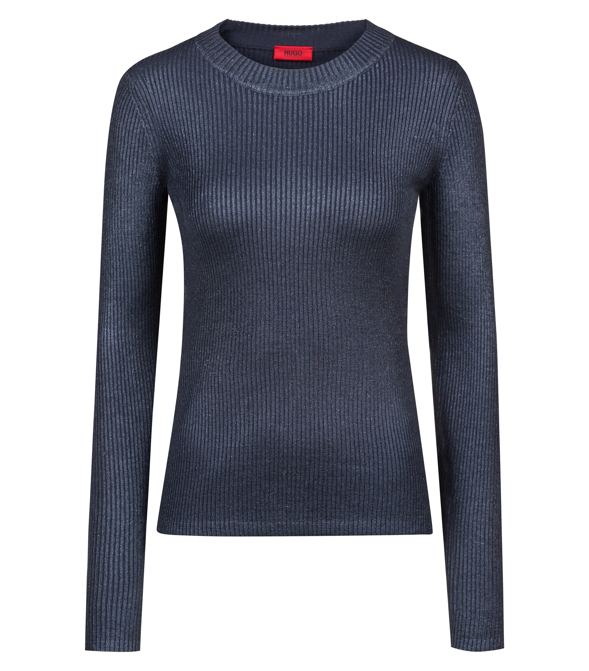 Rib-knit sweater with faded effects, Open Blue