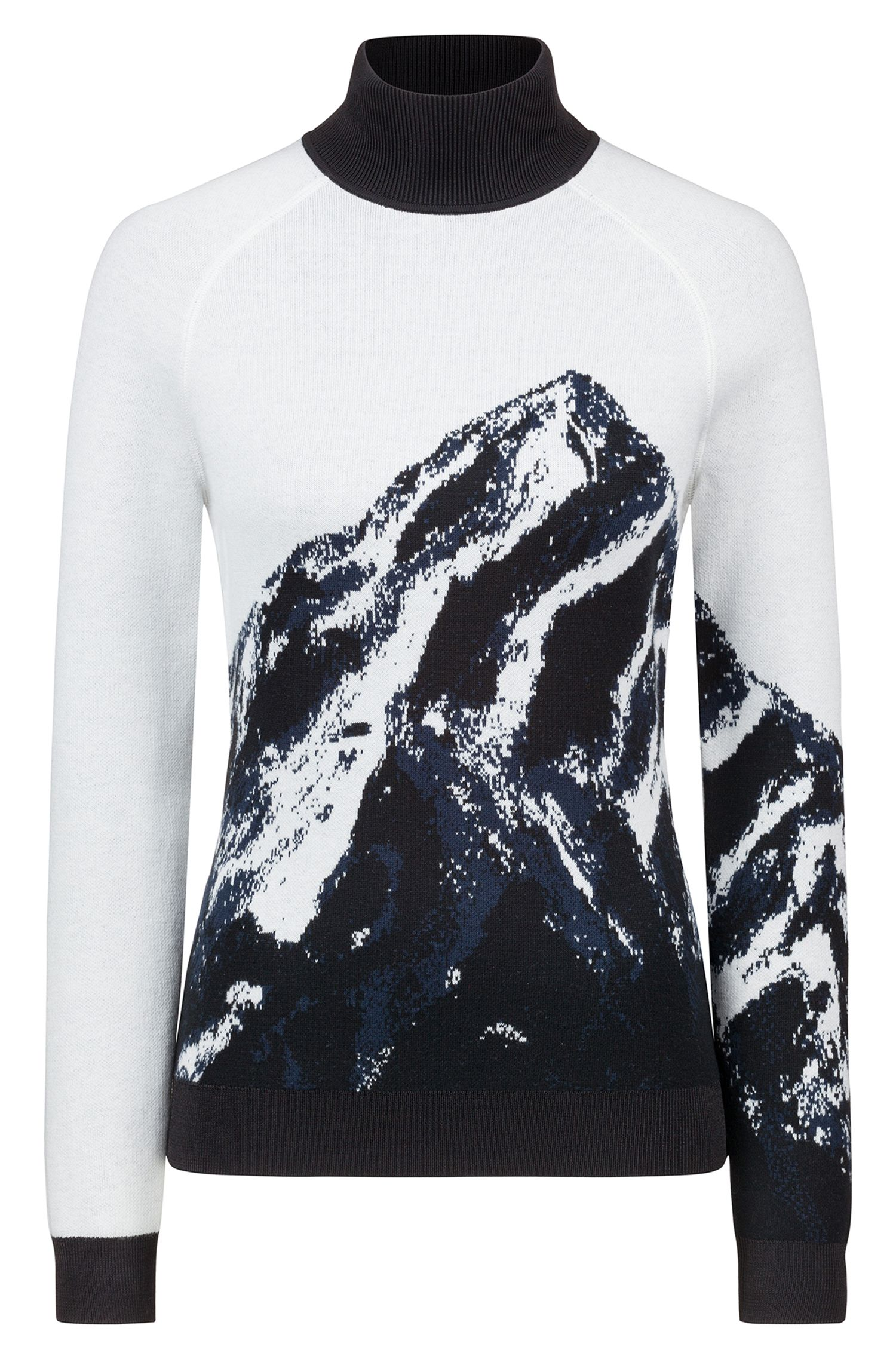 Slim-fit turtleneck sweater with mountain jacquard, Patterned
