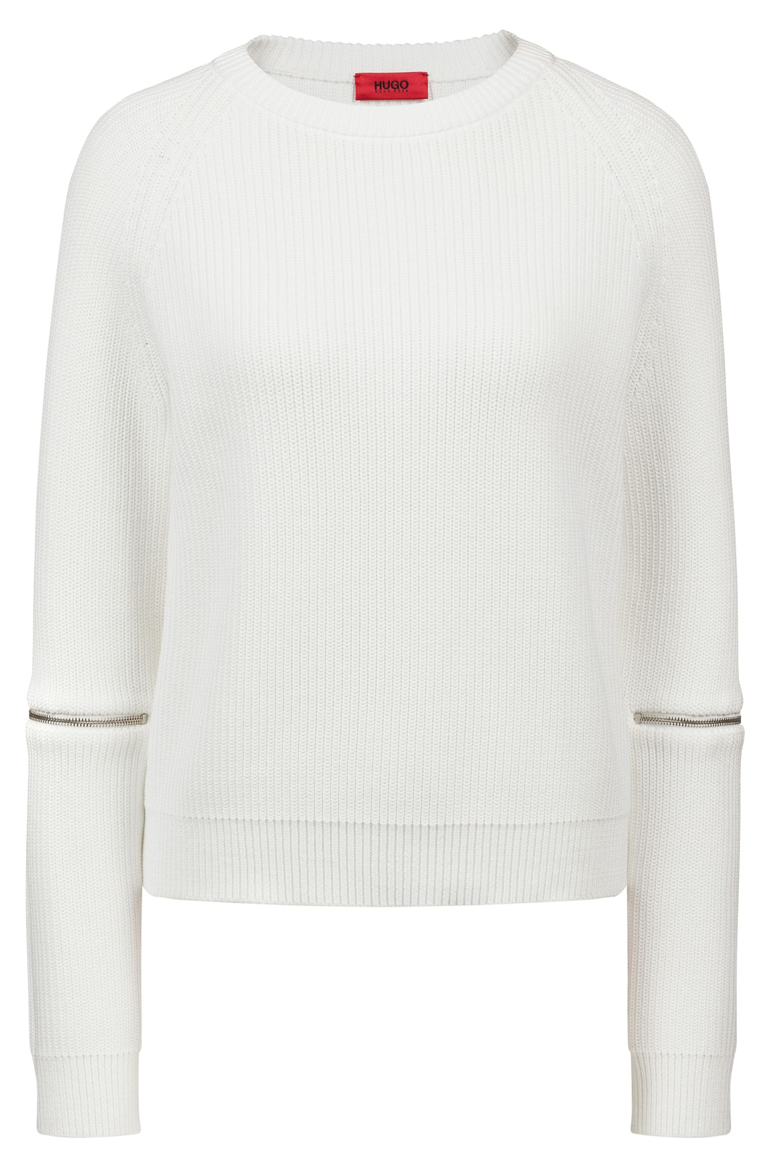 Cotton crew-neck sweater with zipper detail, Natural