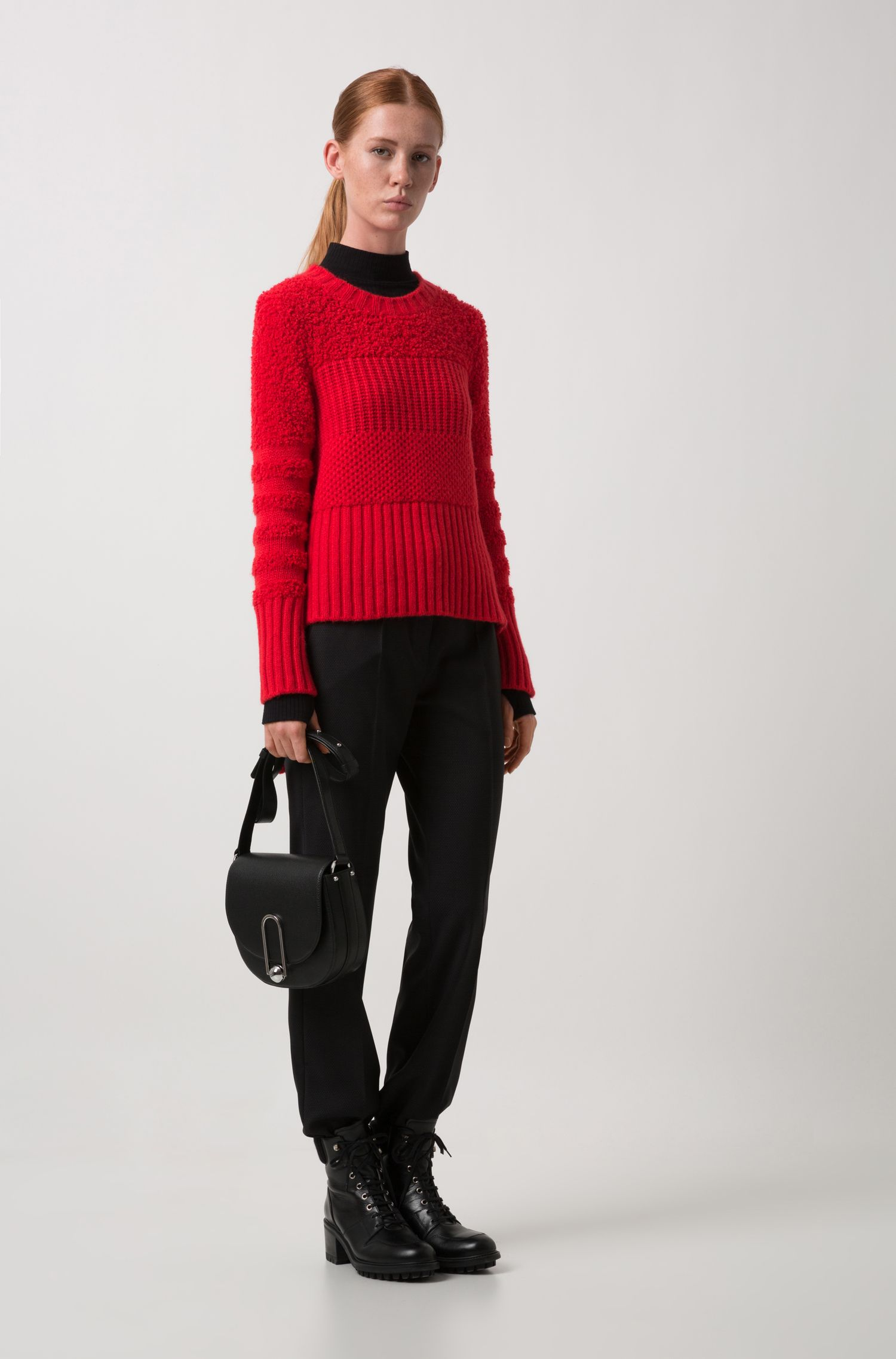 Crew-neck sweater in mixed knitted textures, Red