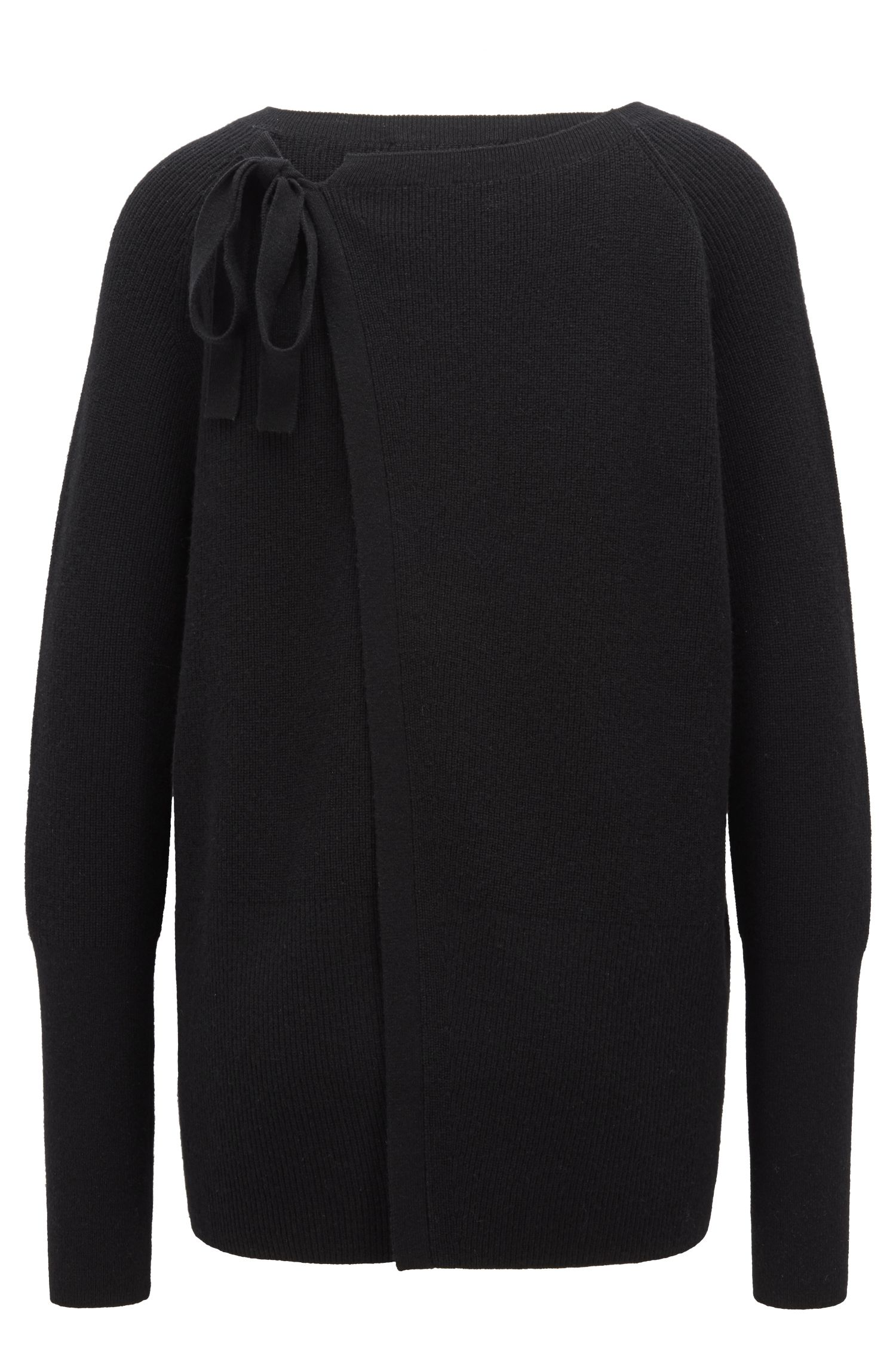 Relaxed-fit sweater in mixed wool with rear tie, Black