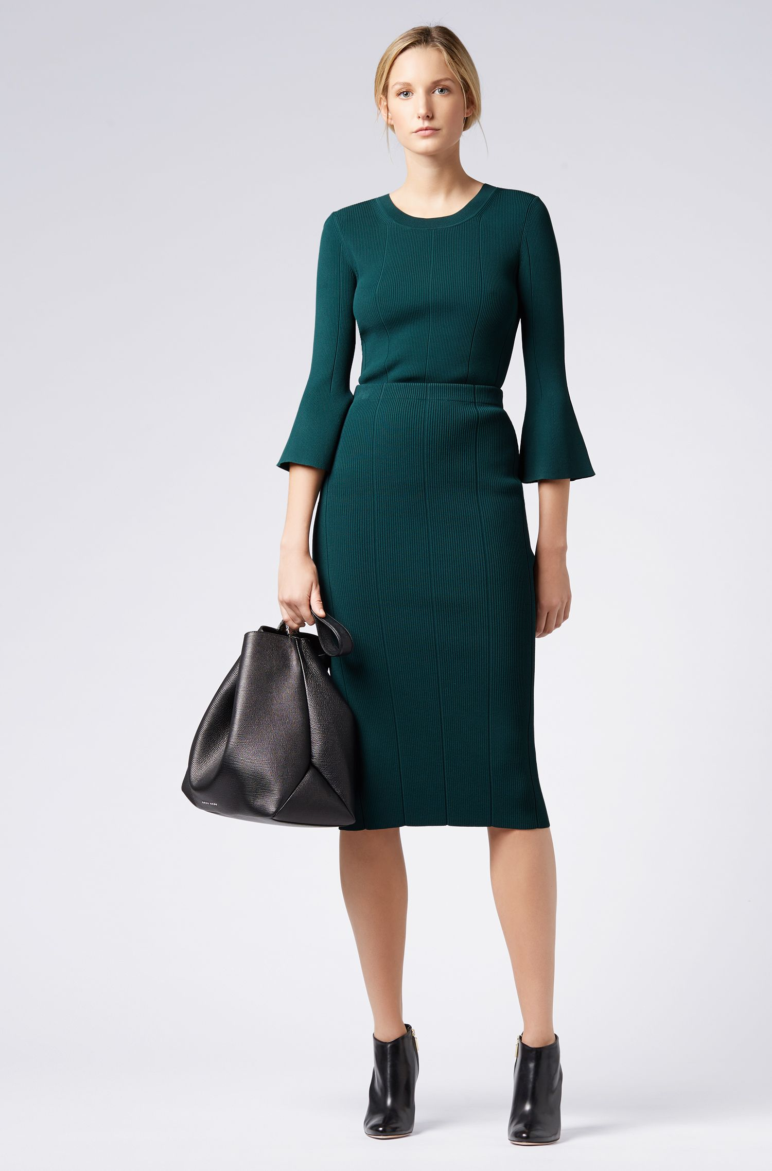 Slim-fit sweater in technical fabric with flared sleeves, Open Green