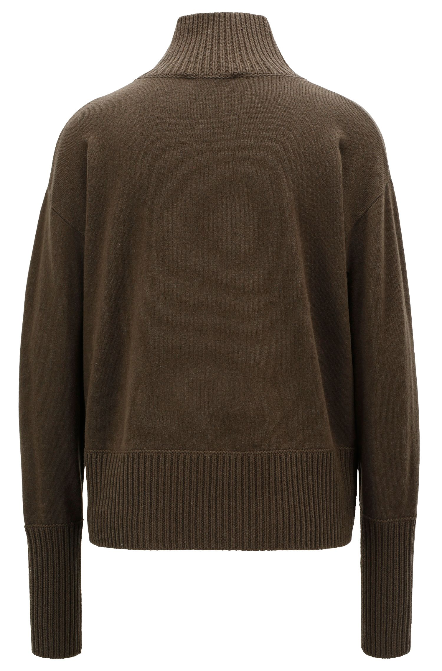 Wool-blend sweater with patch pockets and funnel neck, Open Green