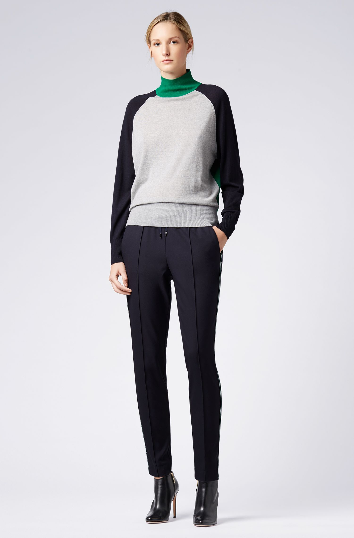 Relaxed-fit turtleneck sweater in merino wool, Patterned