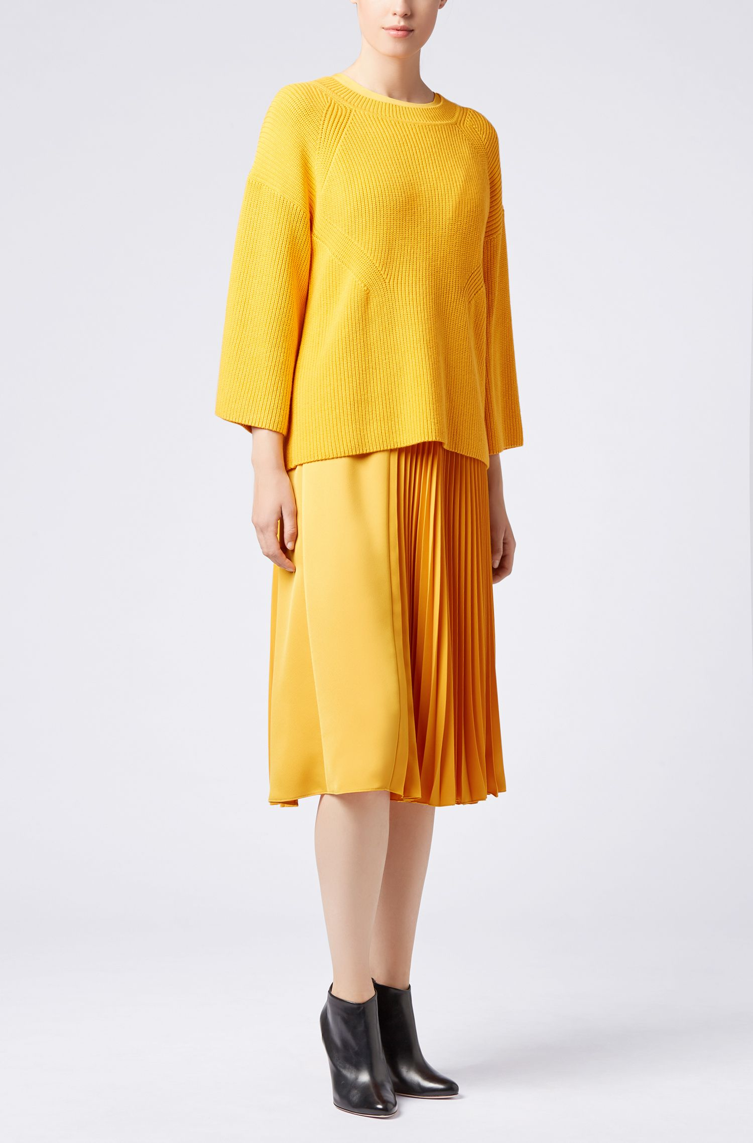 Knitted sweater in a cotton-silk-cashmere blend, Yellow