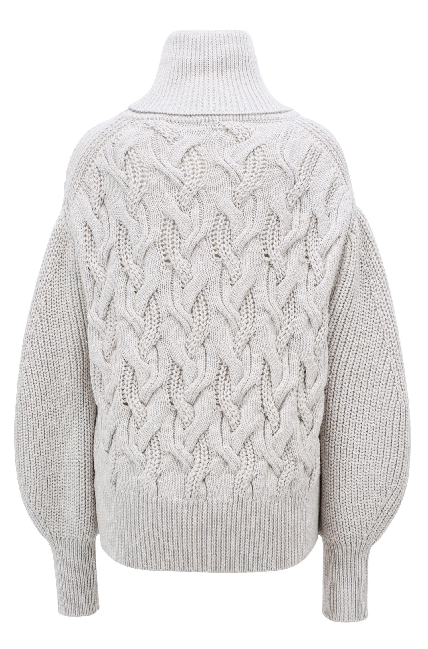 Relaxed-fit turtleneck sweater in Italian merino wool, Open White