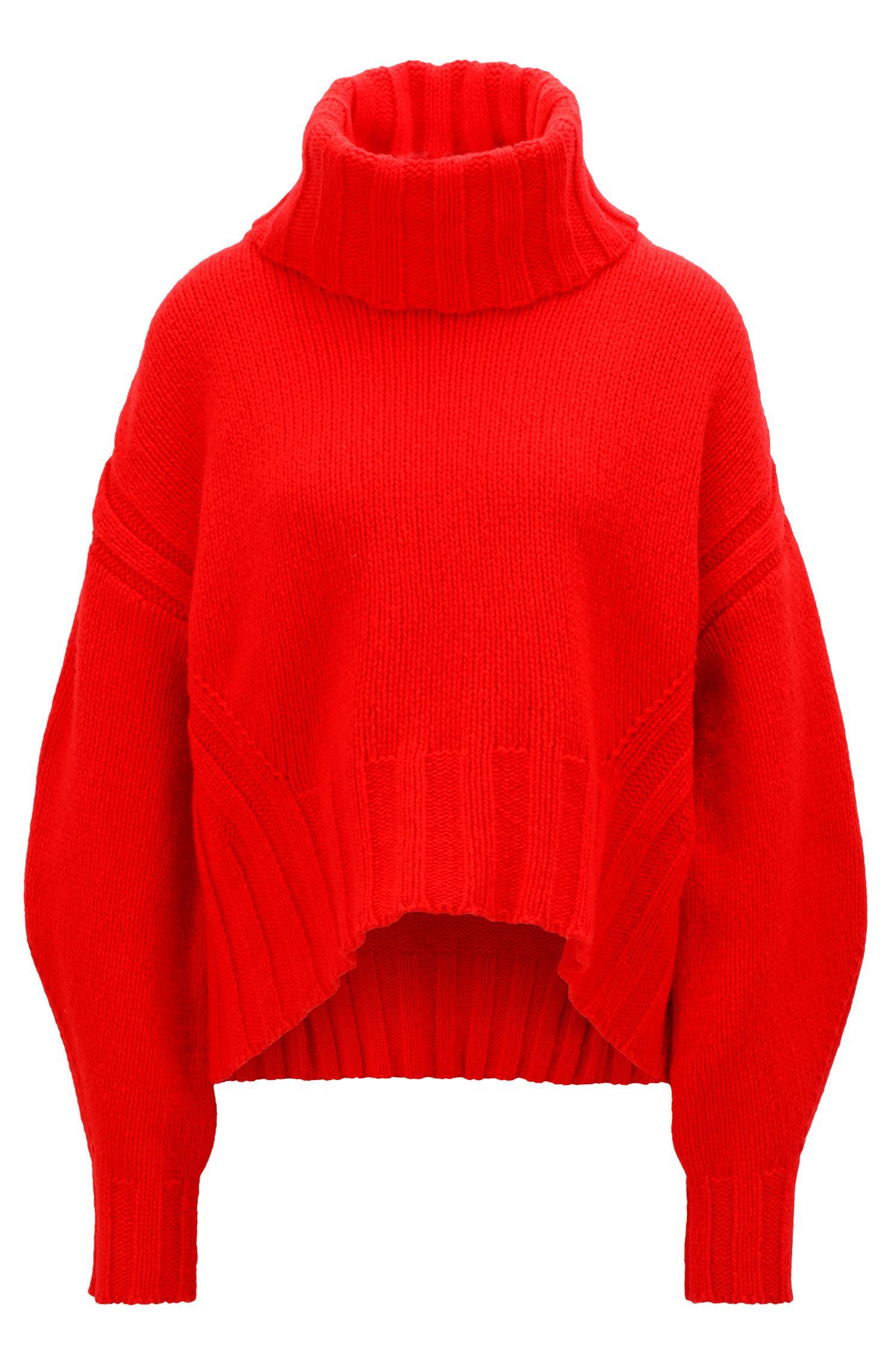 Turtleneck sweater in an air-spun virgin-wool blend, Red