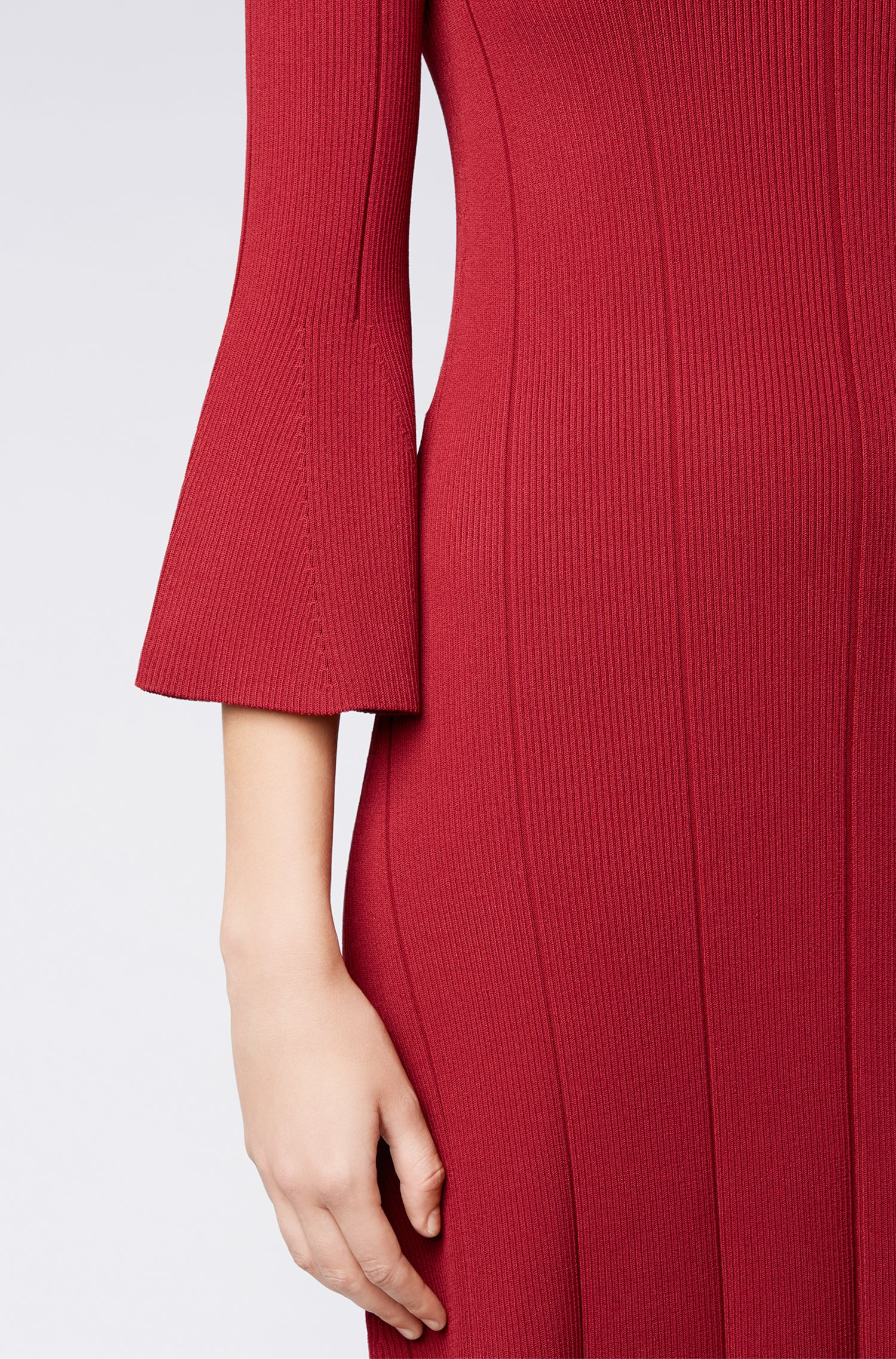 Slim-fit dress with ribbed structure and flared sleeves, Dark Red