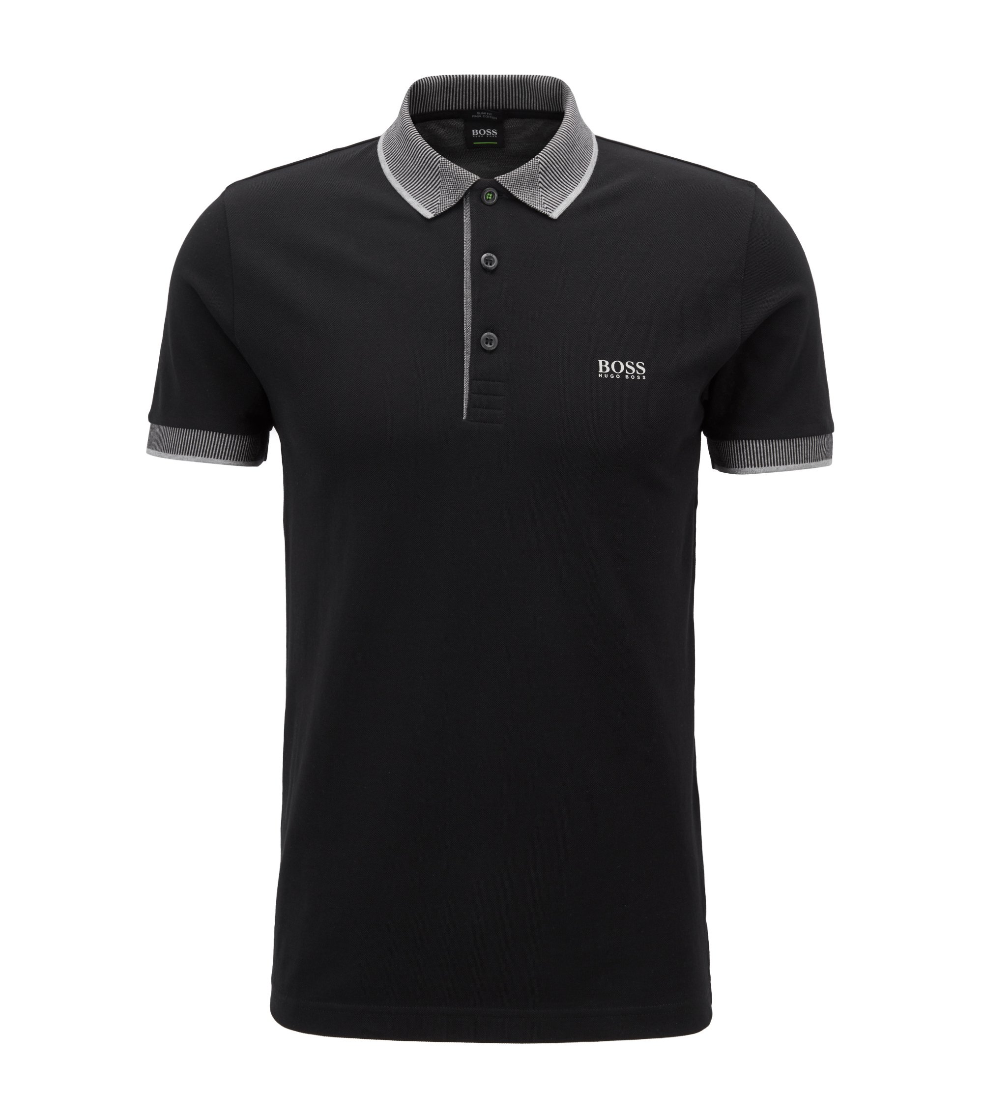 Slim-fit polo shirt in Pima cotton piqué, Black