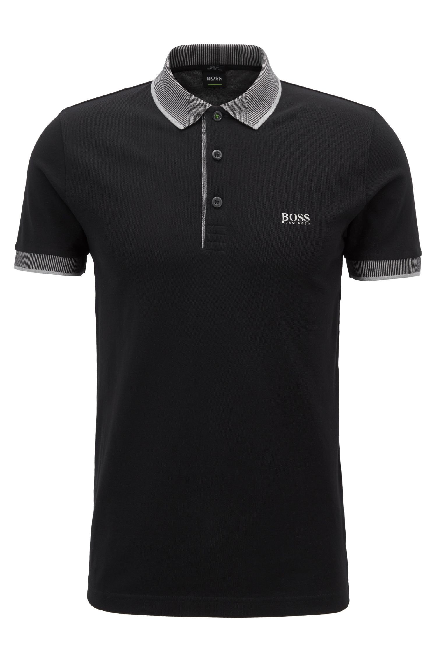 Slim-fit polo shirt in Pima cotton piqué, Black