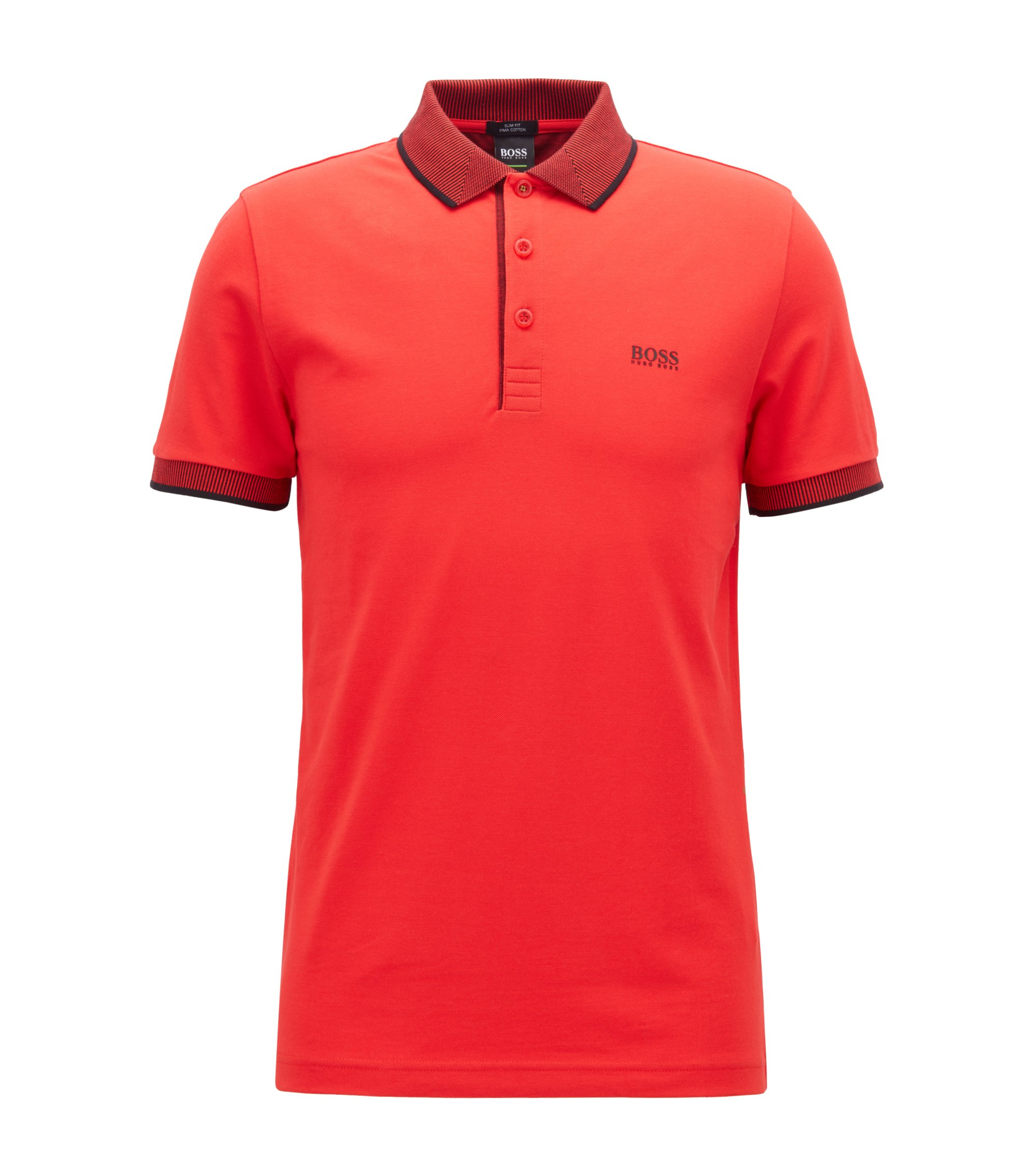 Slim-fit polo shirt in Pima cotton piqué, Open Red
