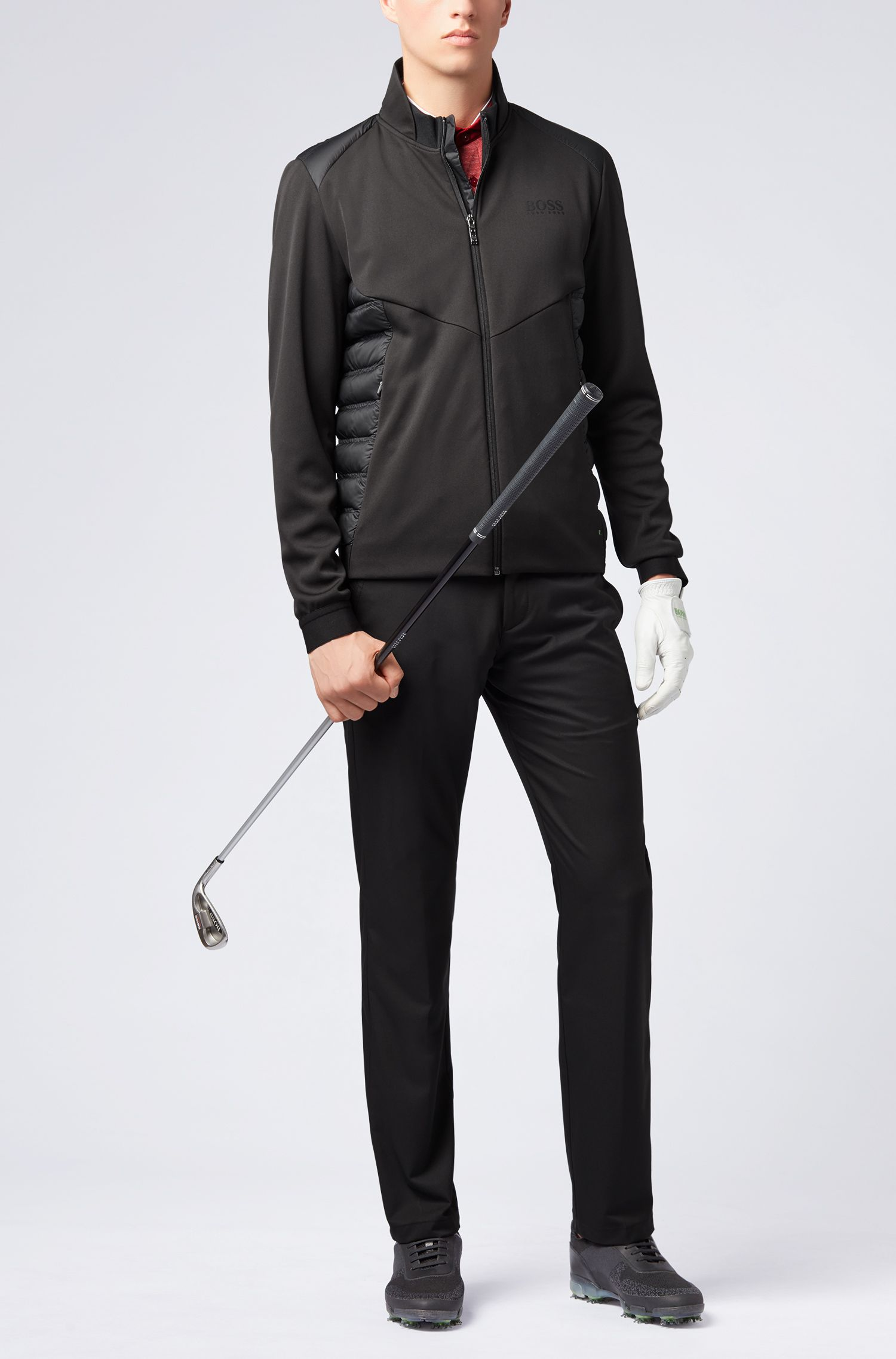 Down-filled jacket in water-repellent technical fabric, Black