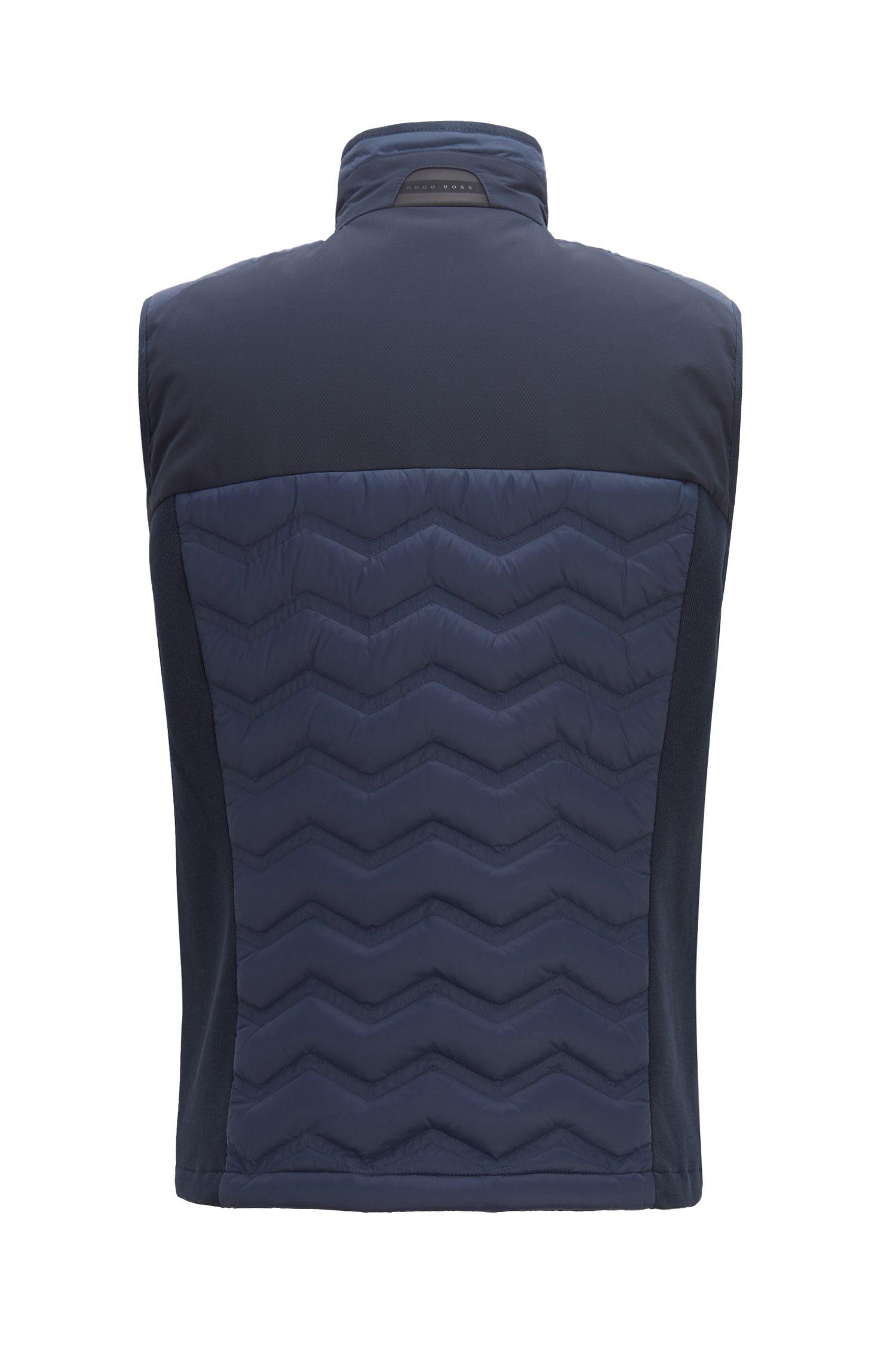 Link2 down gilet in water-repellent quilted taffeta, Dark Blue