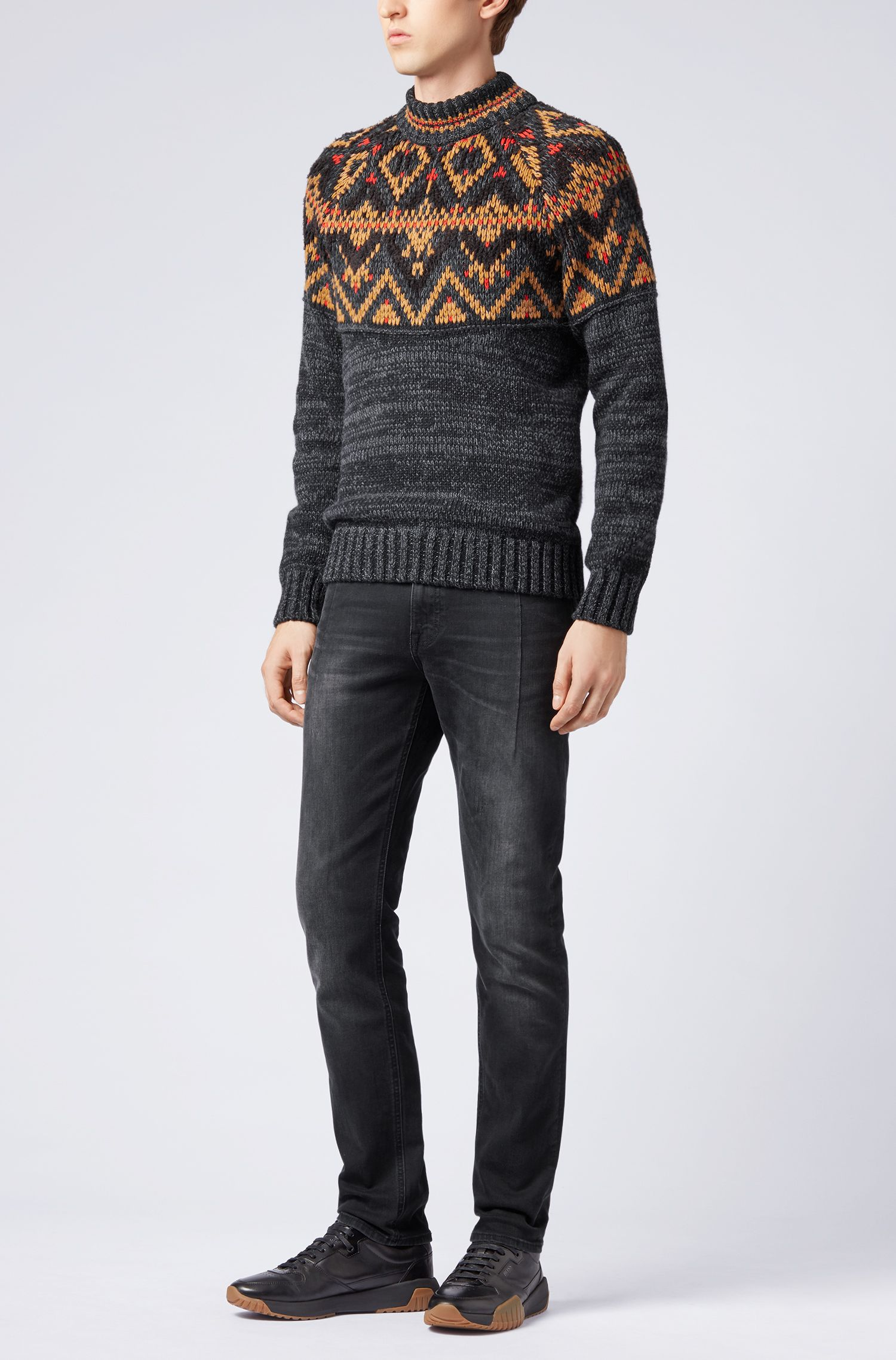 Fair Isle sweater in textured bouclé yarn, Black