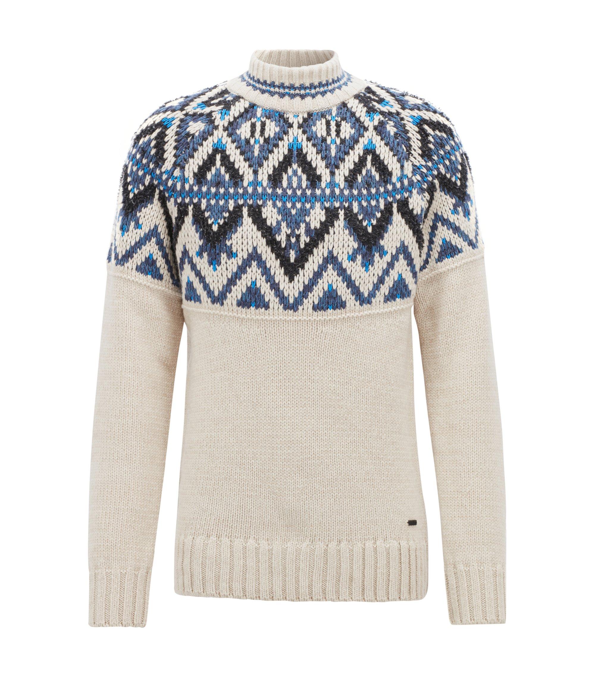Fair Isle sweater in textured bouclé yarn, Open Beige