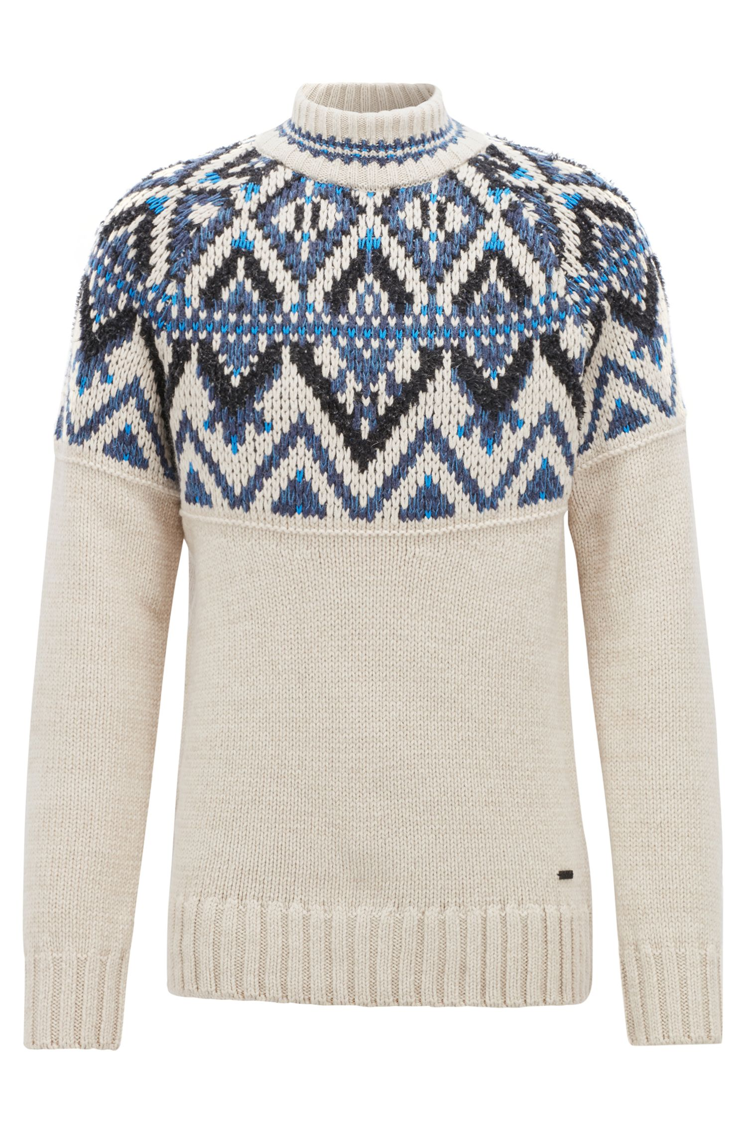 Fair Isle sweater in textured bouclé yarn, Open Beige