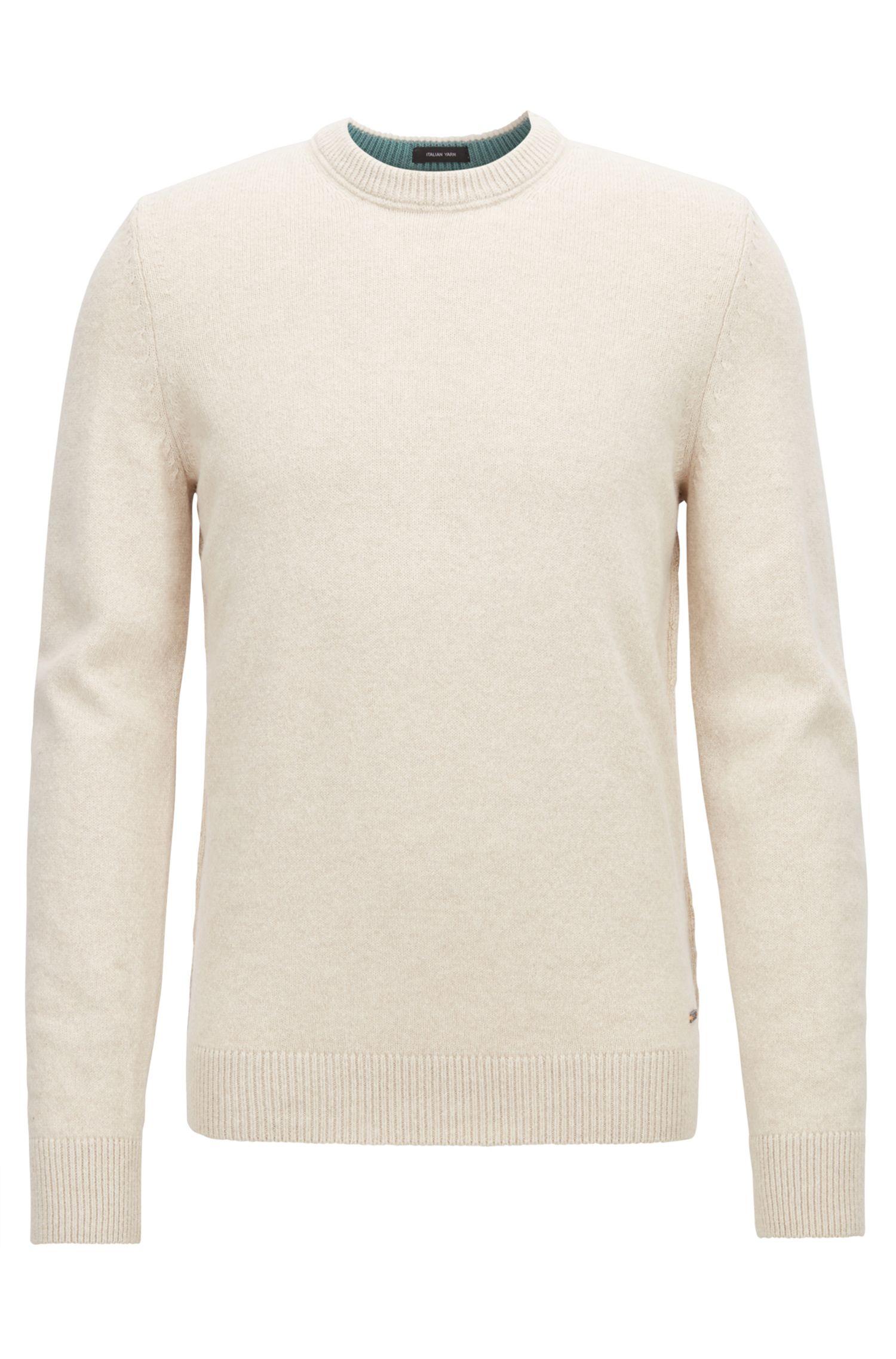 Crew-neck sweater in an Italian wool-cotton blend, Open Beige