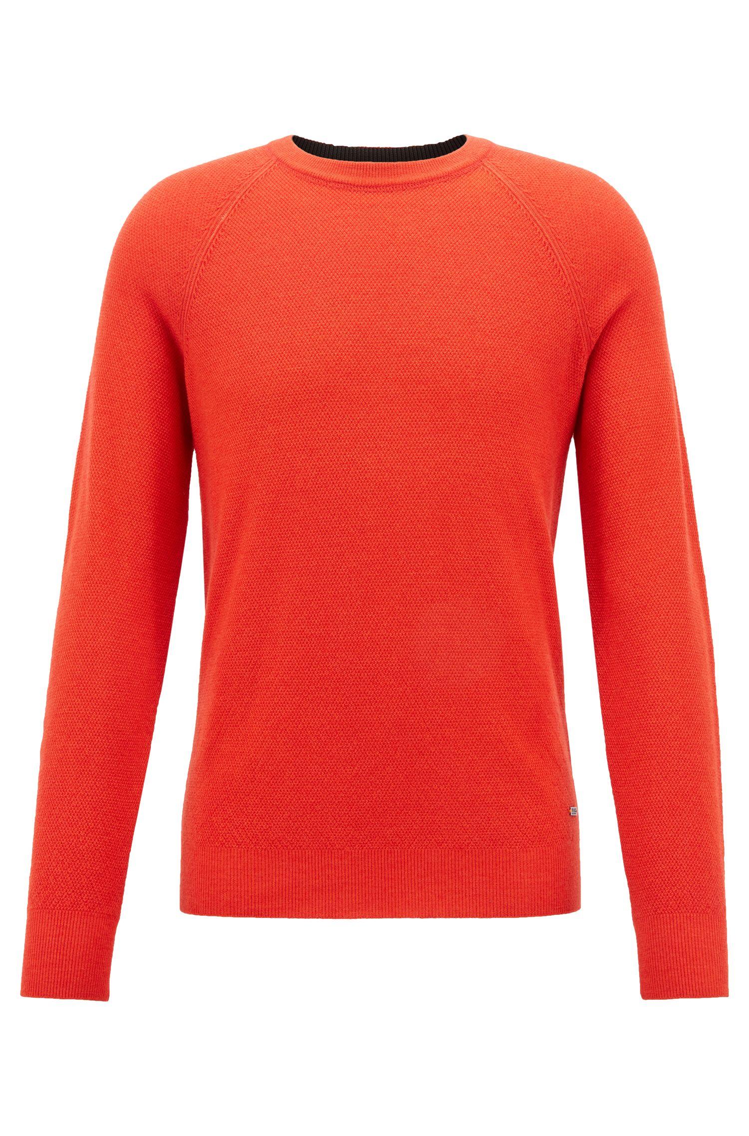 Crew-neck sweater in lightweight merino wool piqué, Open Red