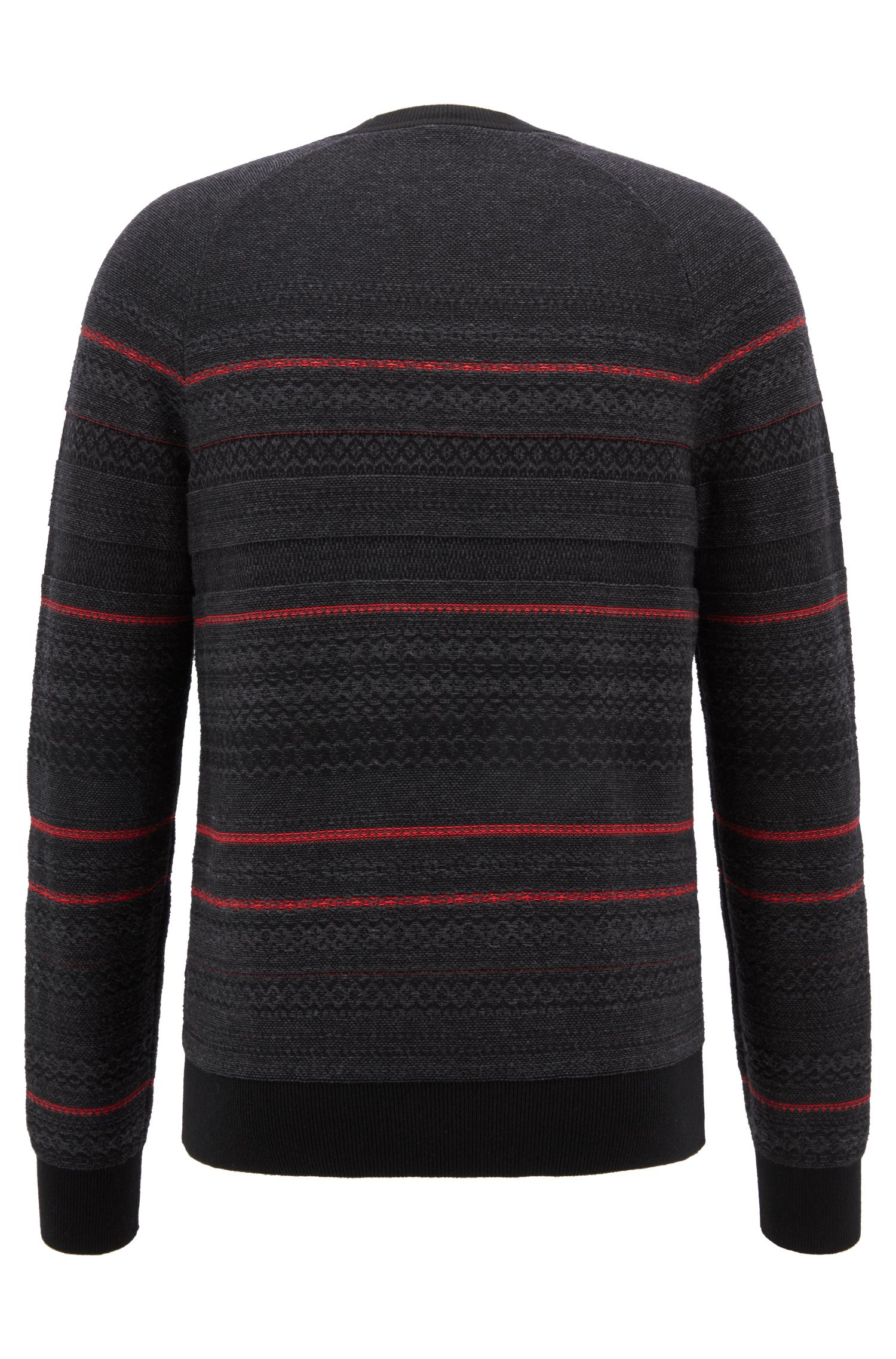 Crew-neck sweater in three-color cotton-blend jacquard, Black