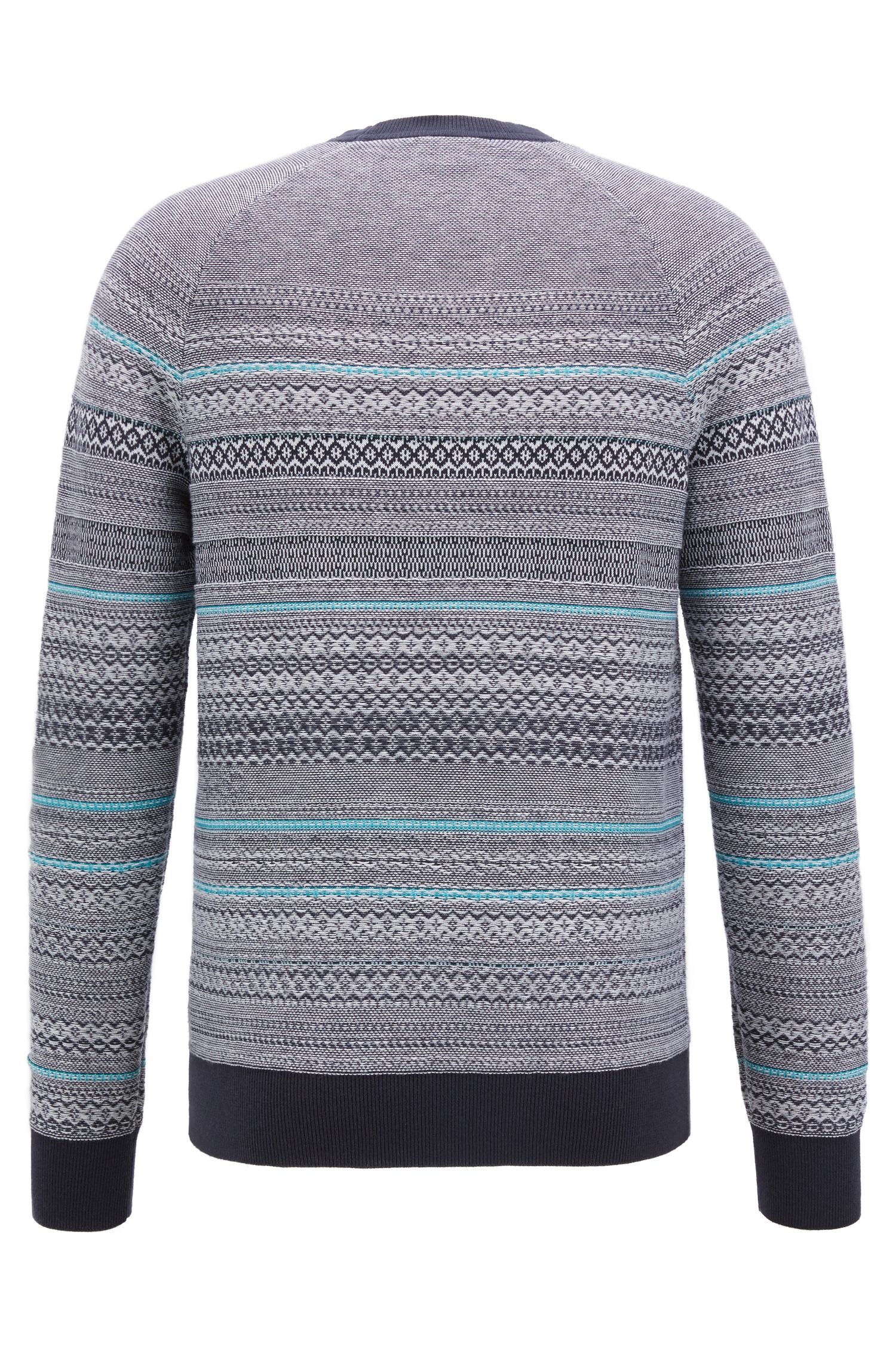 Crew-neck sweater in three-color cotton-blend jacquard, Dark Blue