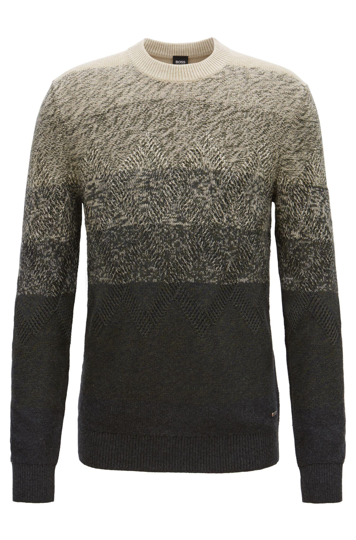 Dégradé sweater with Aran-knit detailing, Dark Grey