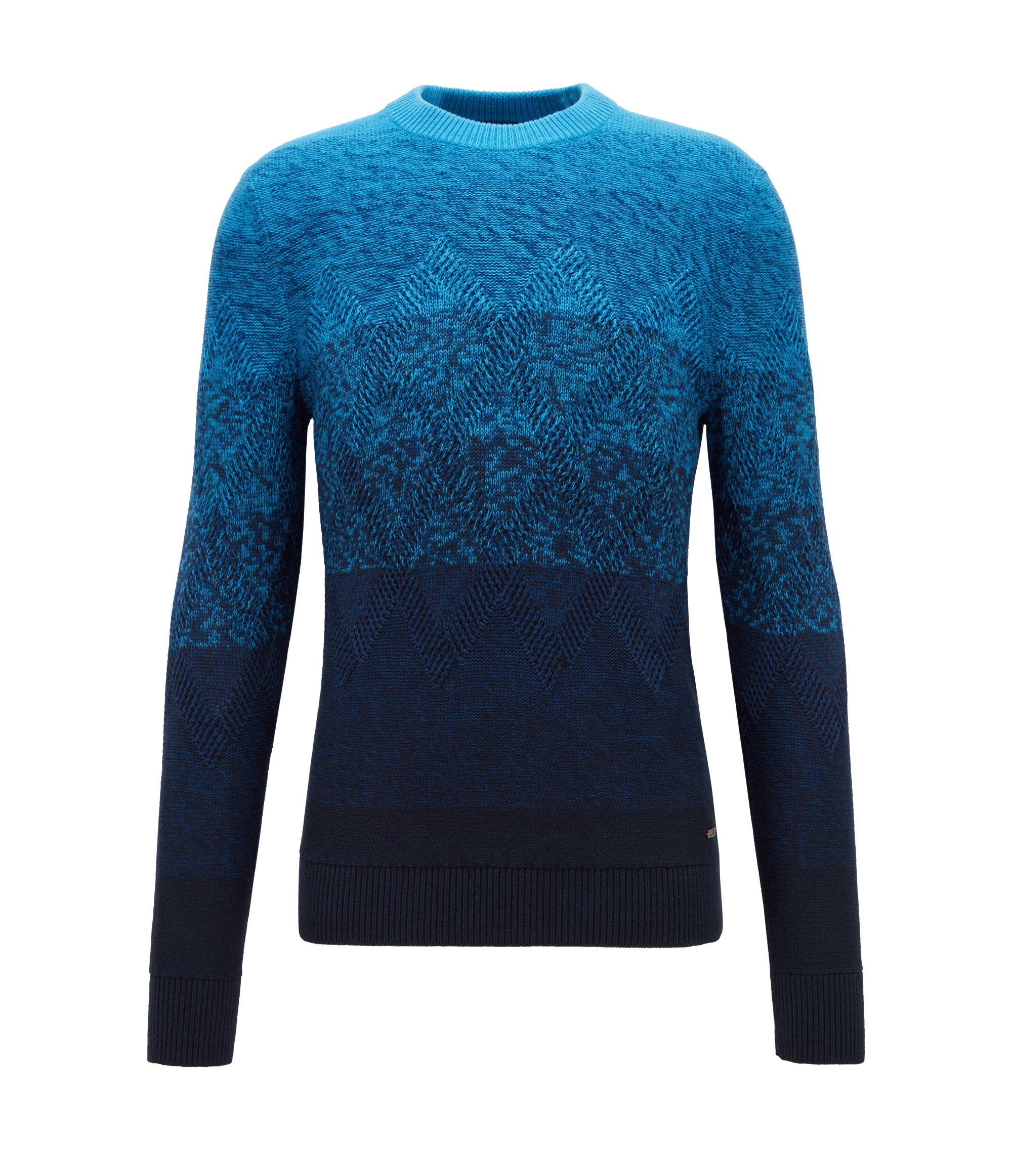 Dégradé sweater with Aran-knit detailing, Dark Blue