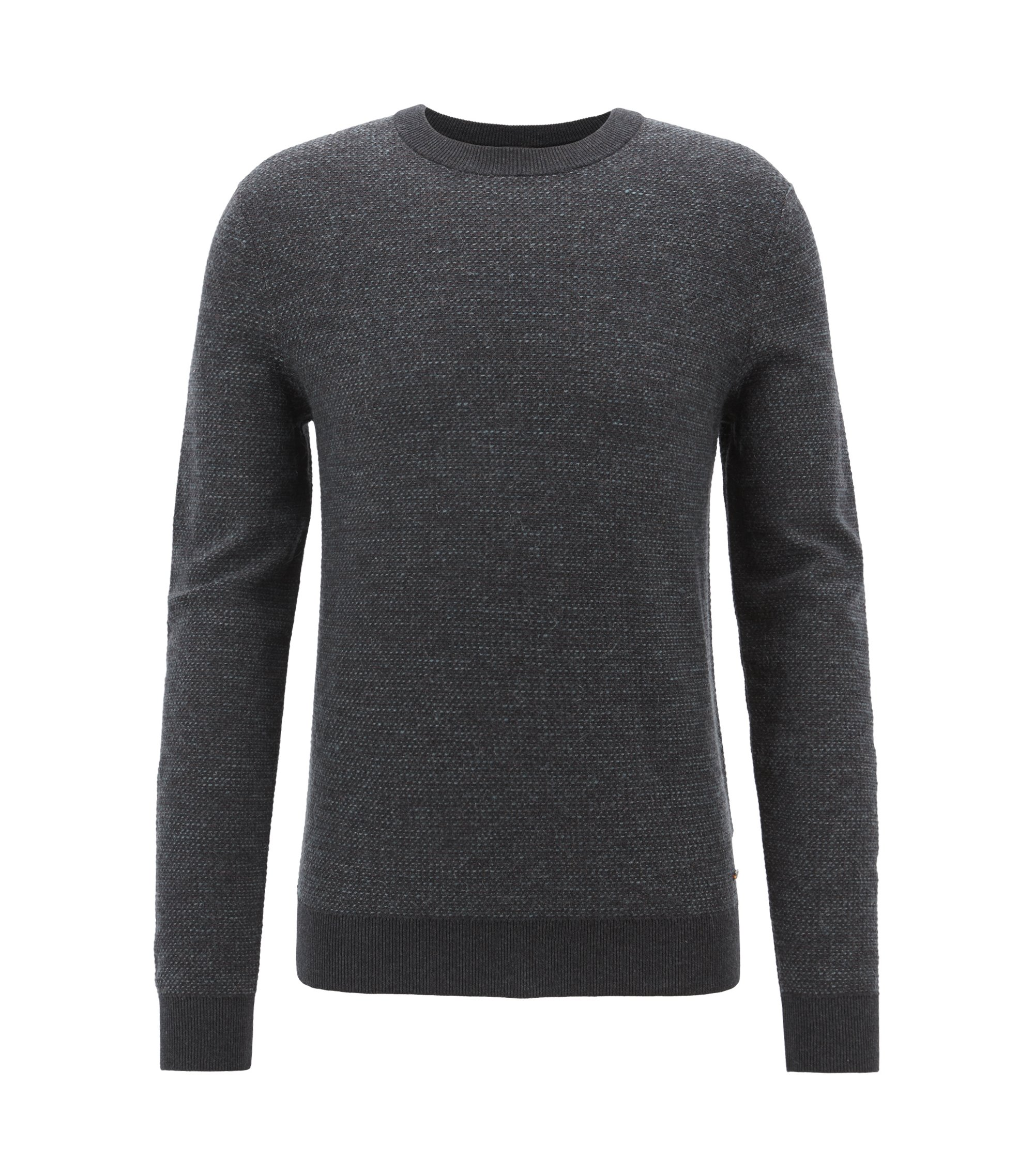 Float-jacquard sweater in a lightweight cotton blend, Black