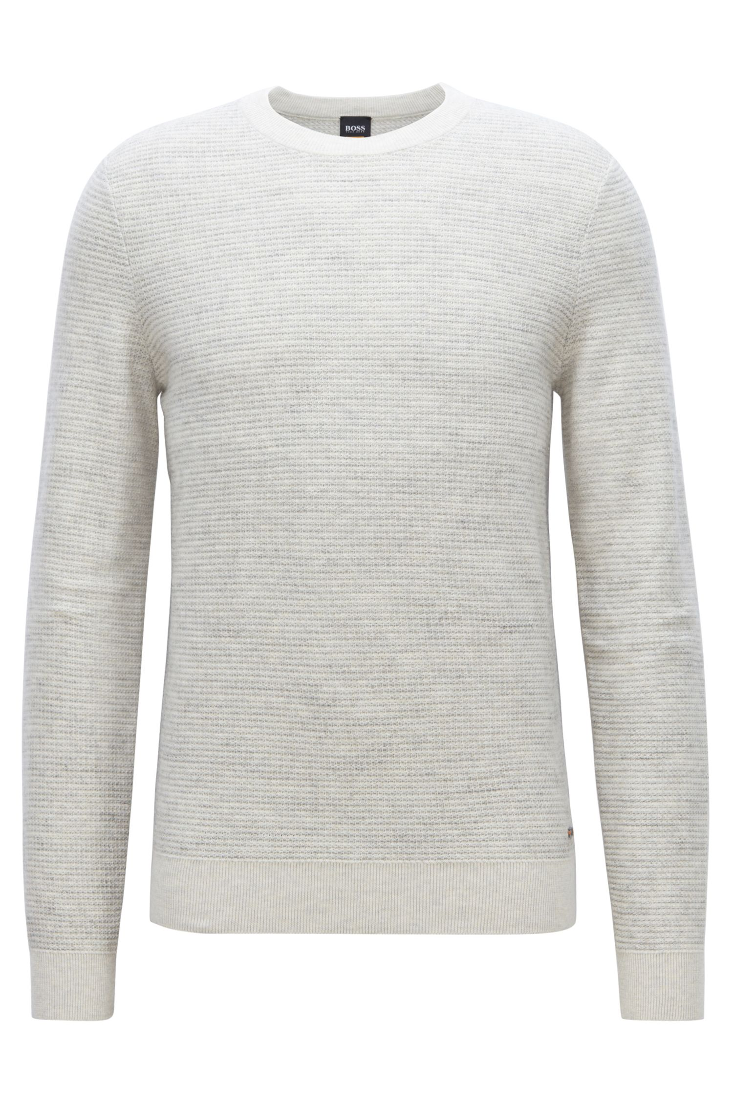 Float-jacquard sweater in a lightweight cotton blend, Light Beige