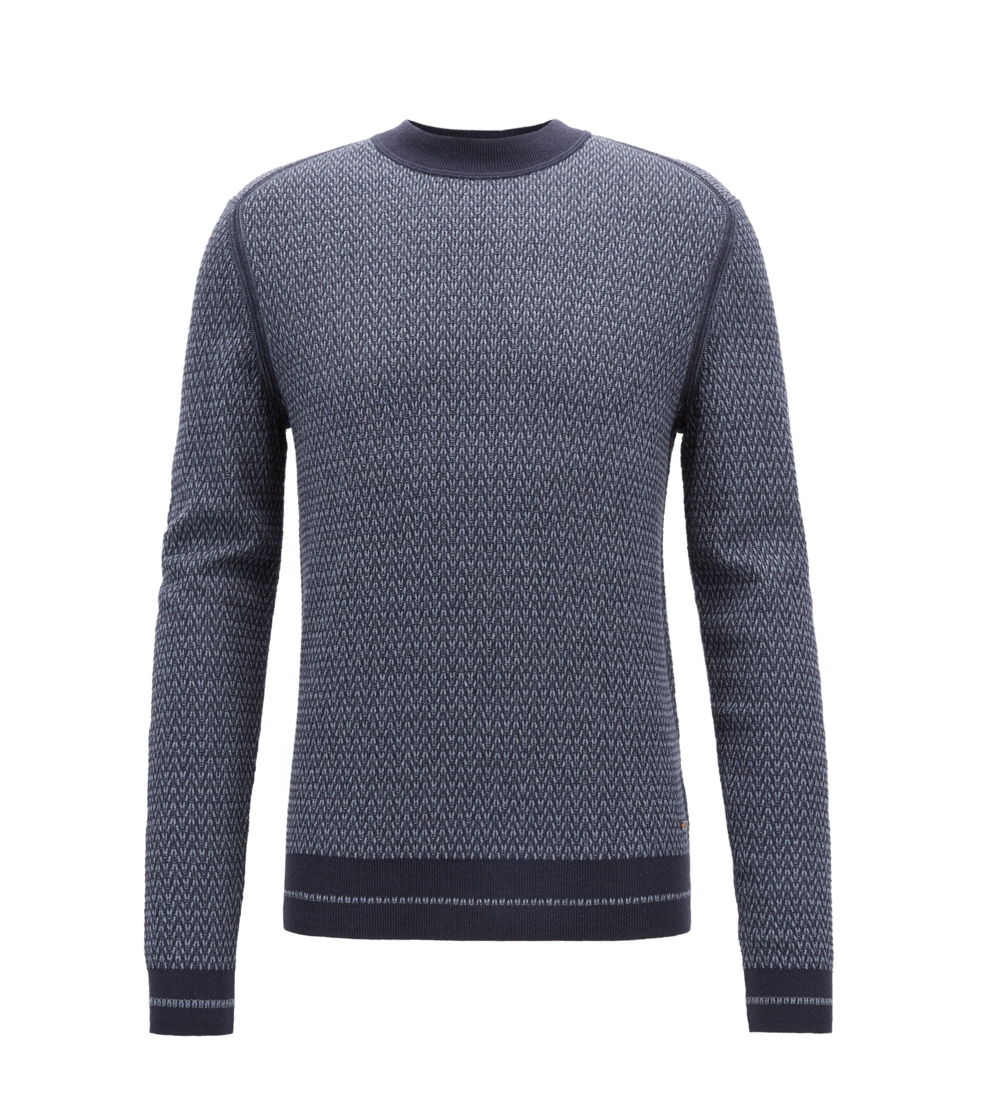 Crew-neck sweater in a micro-structured cotton blend, Dark Blue
