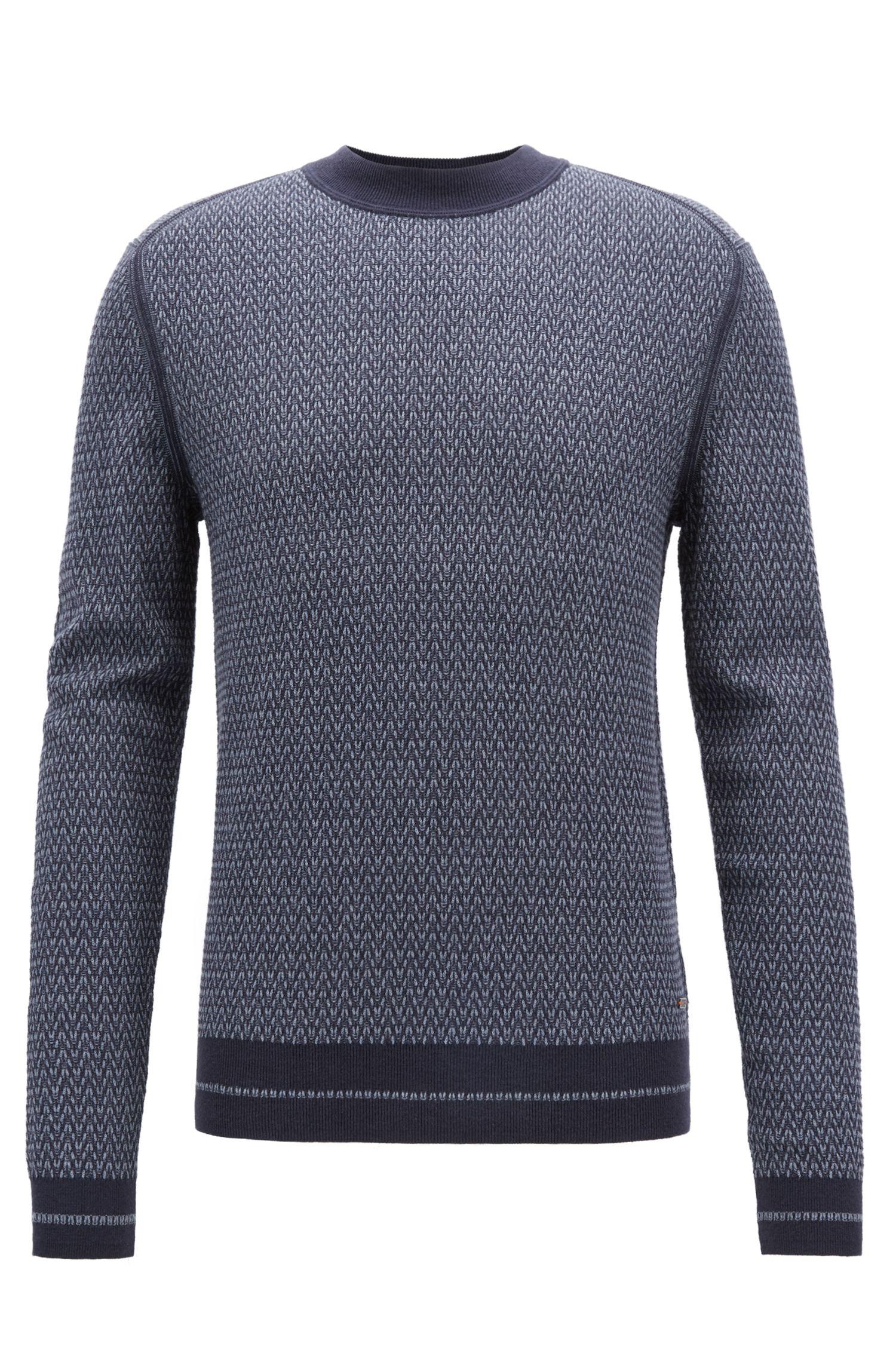 Crew-neck sweater in a micro-structured cotton blend, Dark Blue