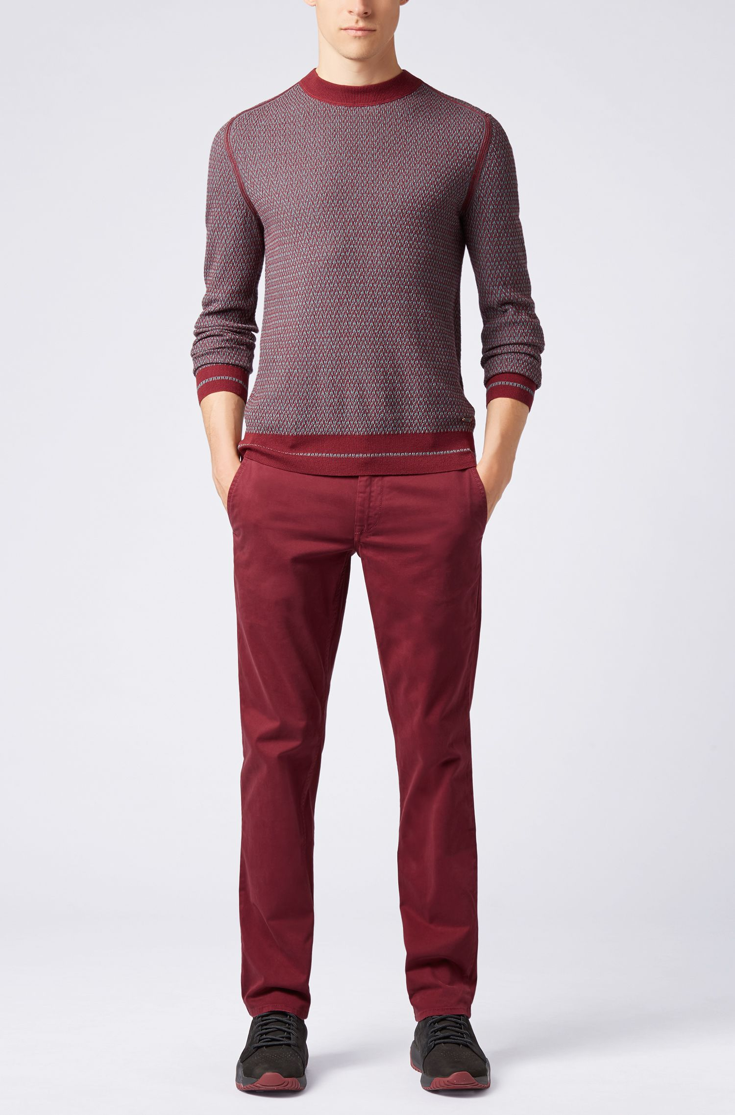 Crew-neck sweater in a micro-structured cotton blend, Open Red