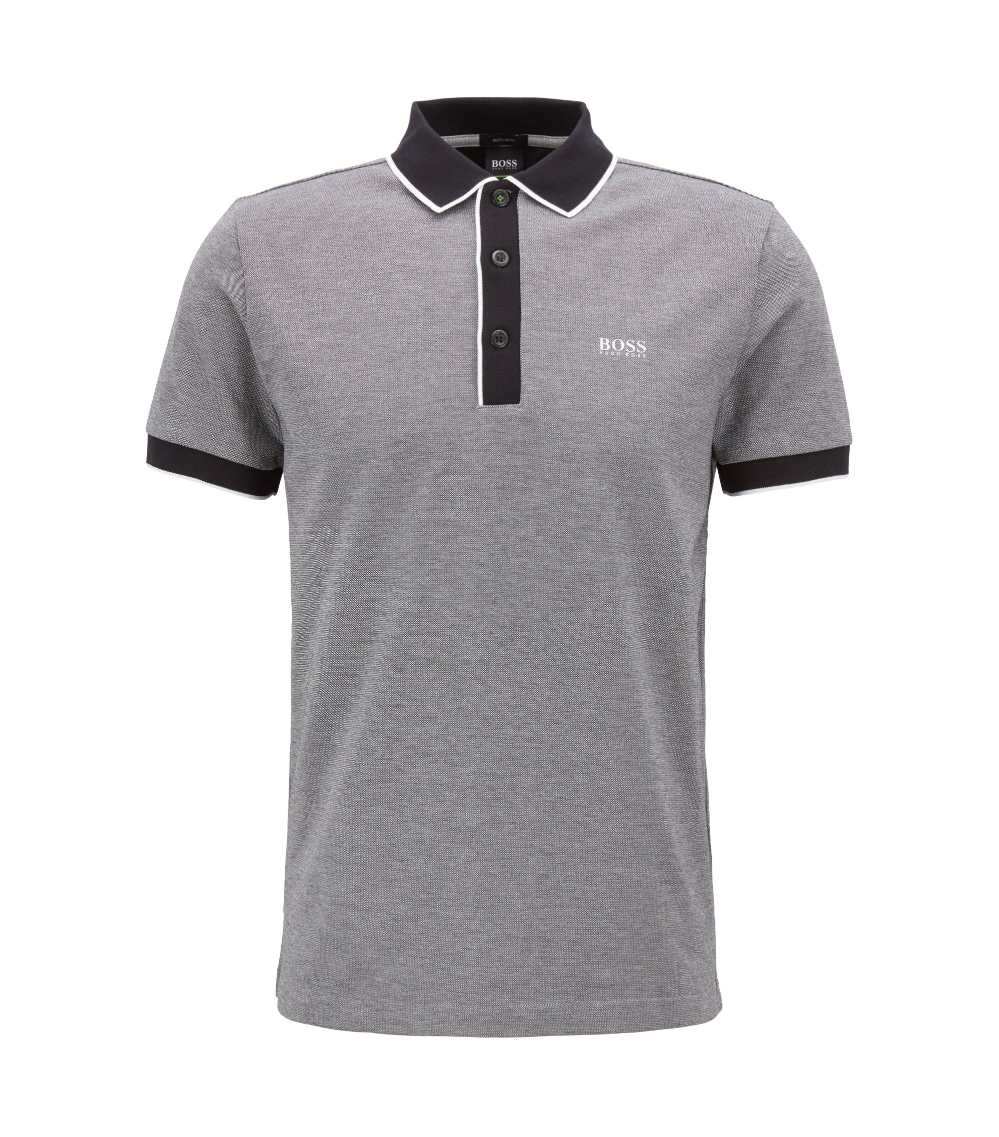 Regular-fit polo shirt in three-colored cotton piqué, Black