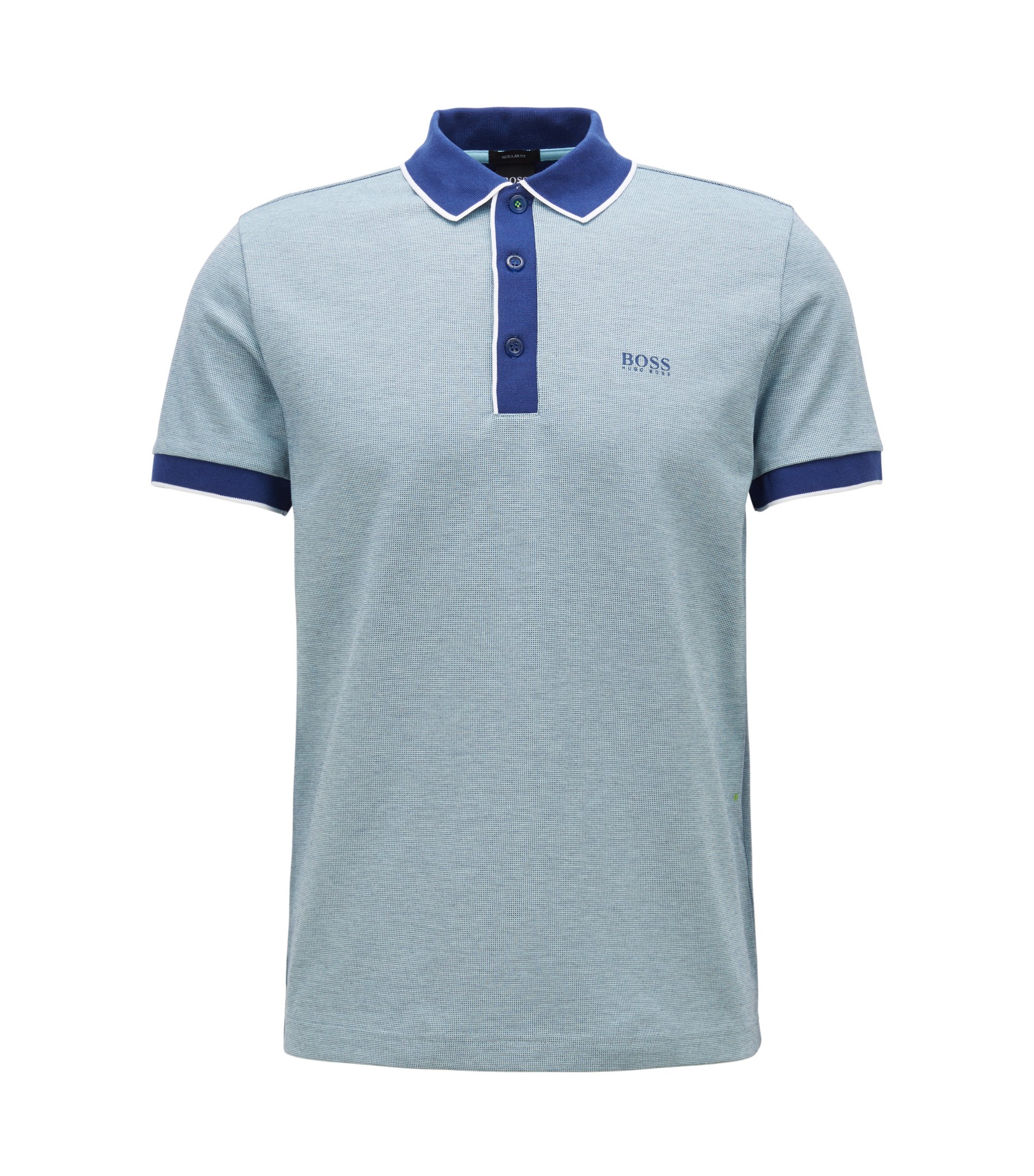 Regular-fit polo shirt in three-colored cotton piqué, Dark Blue