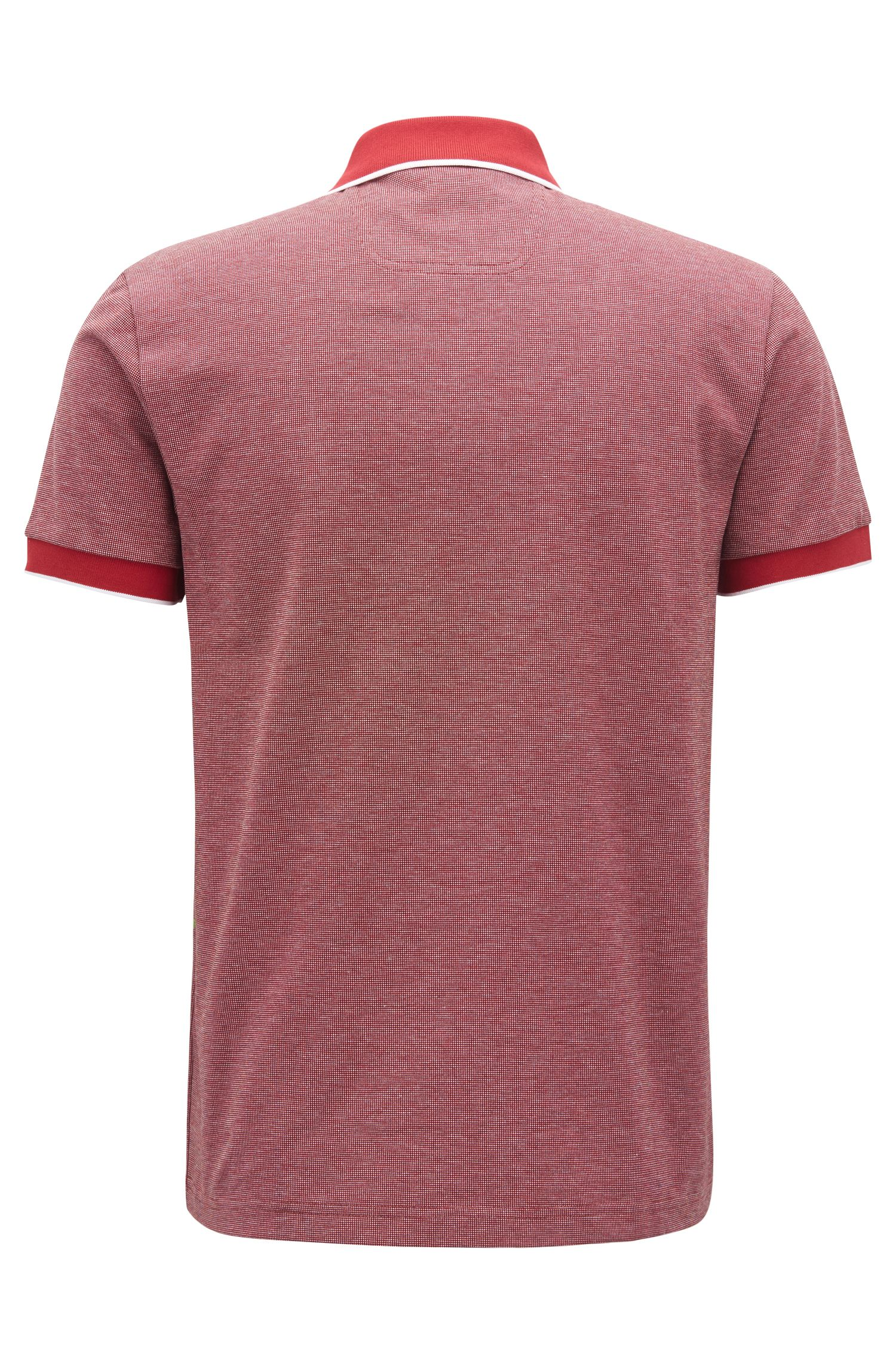 Regular-fit polo shirt in three-colored cotton piqué, Dark Red