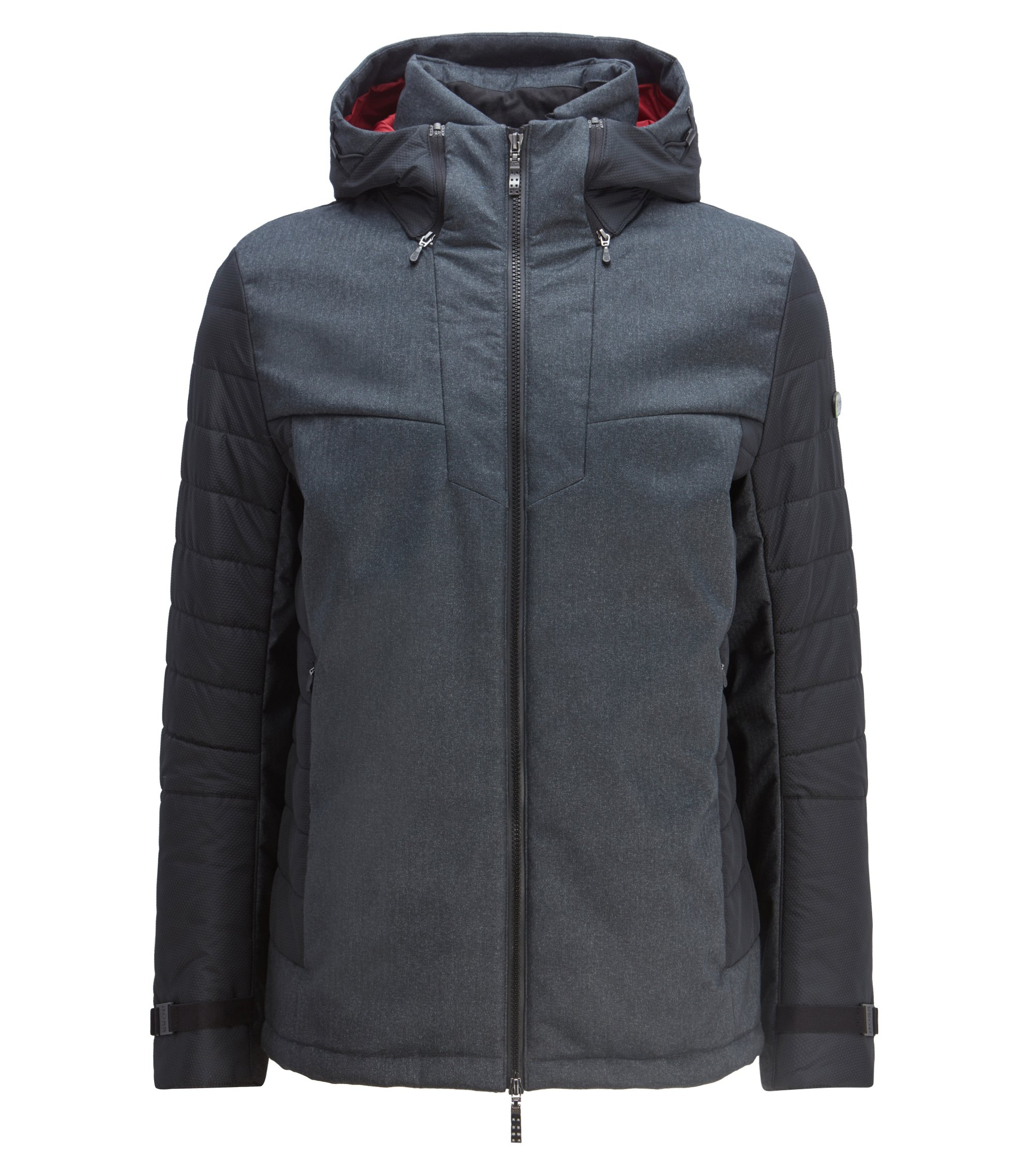 Hooded padded jacket with sustainable lining and water-repellent finish, Charcoal