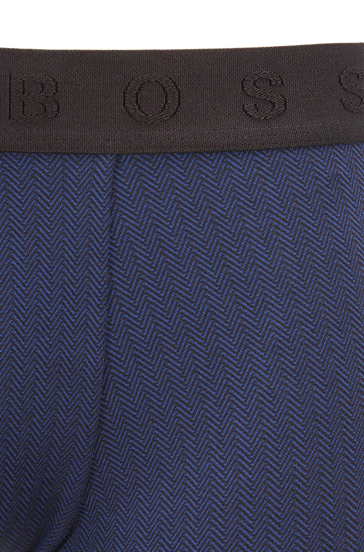 Straight-cut trunks in a herringbone stretch-cotton blend, Open Blue