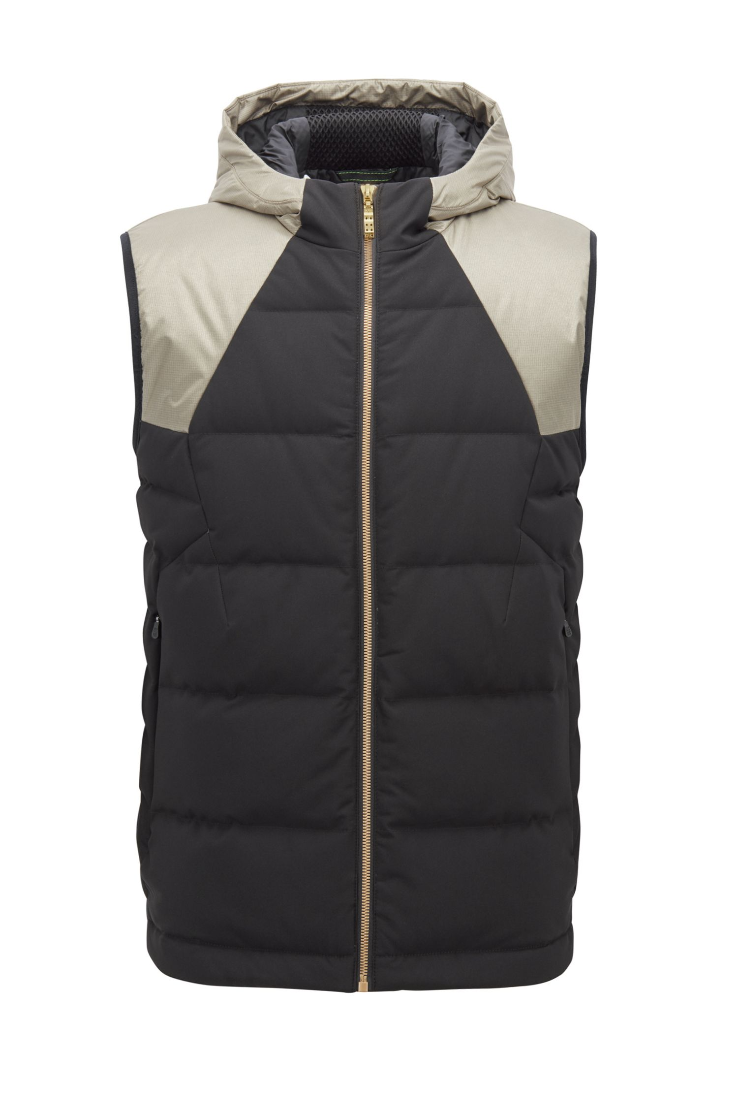 Water-repellent down-filled gilet with electromagnetic-wave blocker, Black