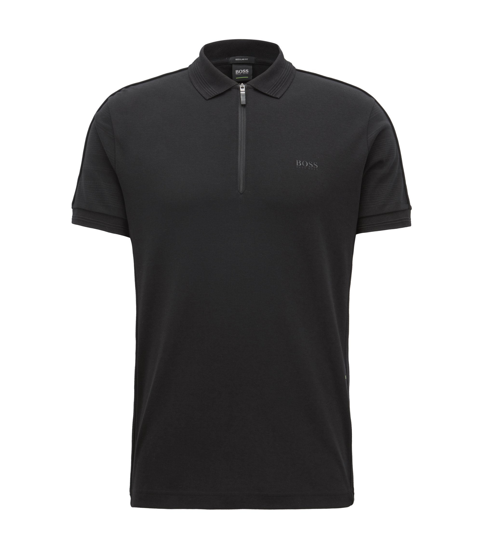 Zip-front polo shirt in cotton with tonal stripes, Black