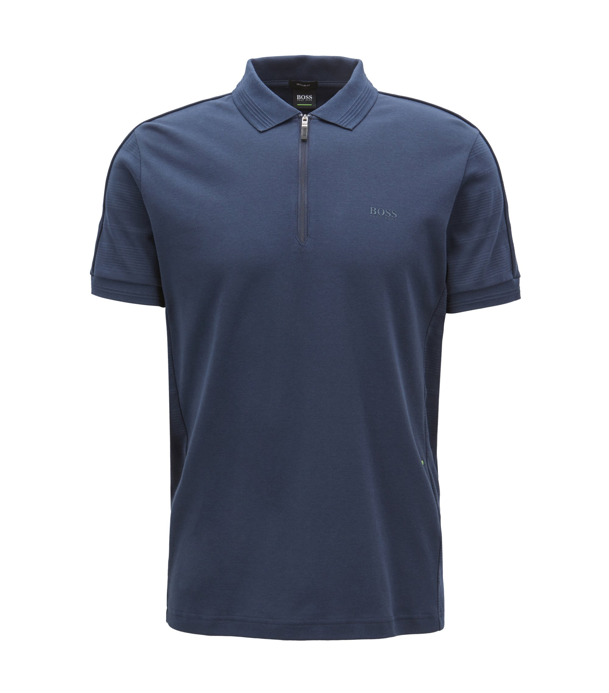 Zip-front polo shirt in cotton with tonal stripes, Dark Blue