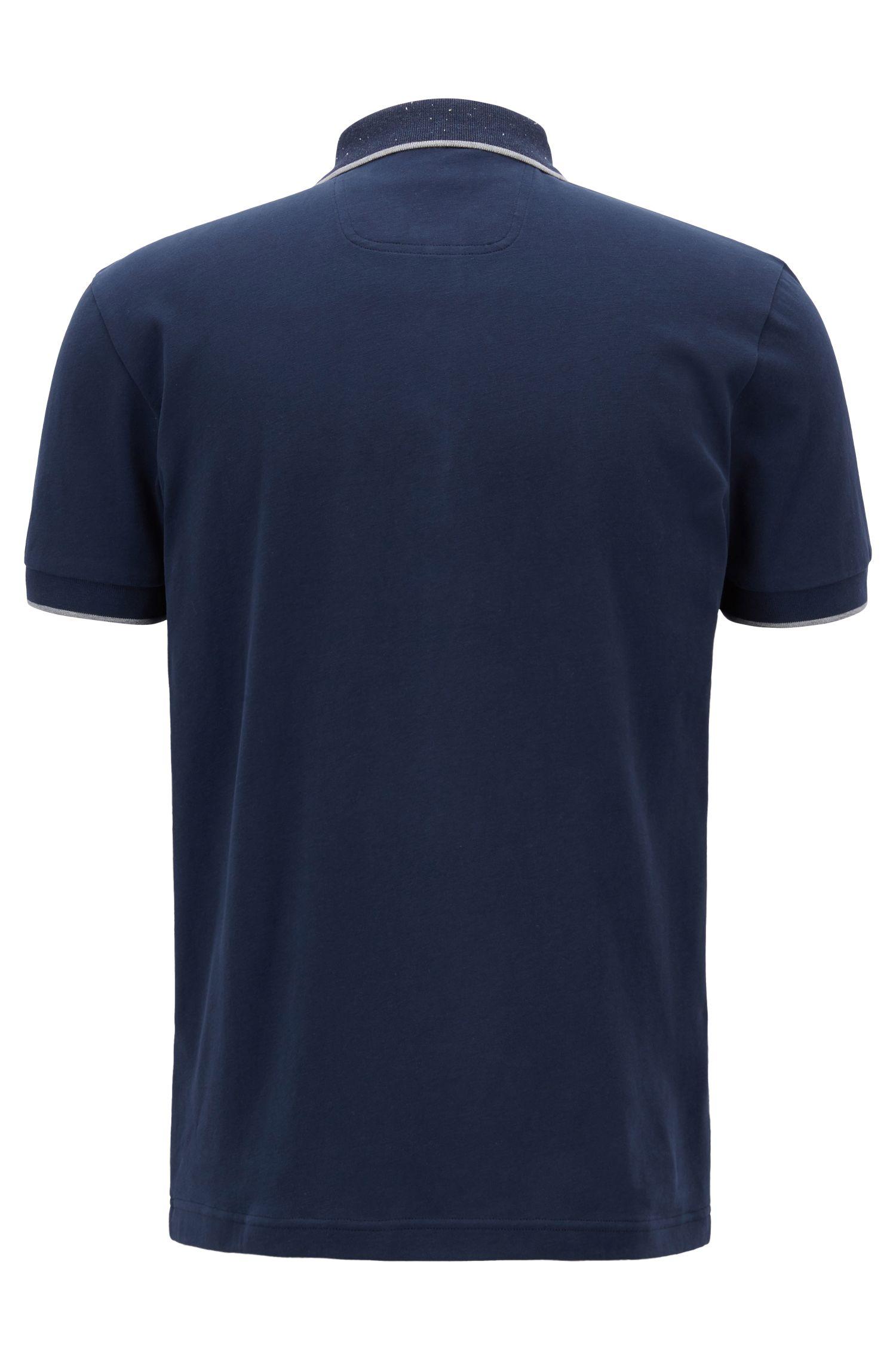 Regular-fit polo shirt in suede-effect cotton jersey, Dark Blue